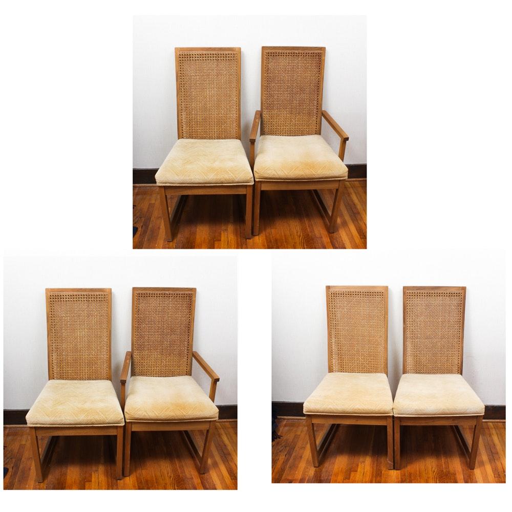 Bernardt Walnut Cane Back Dining Chairs