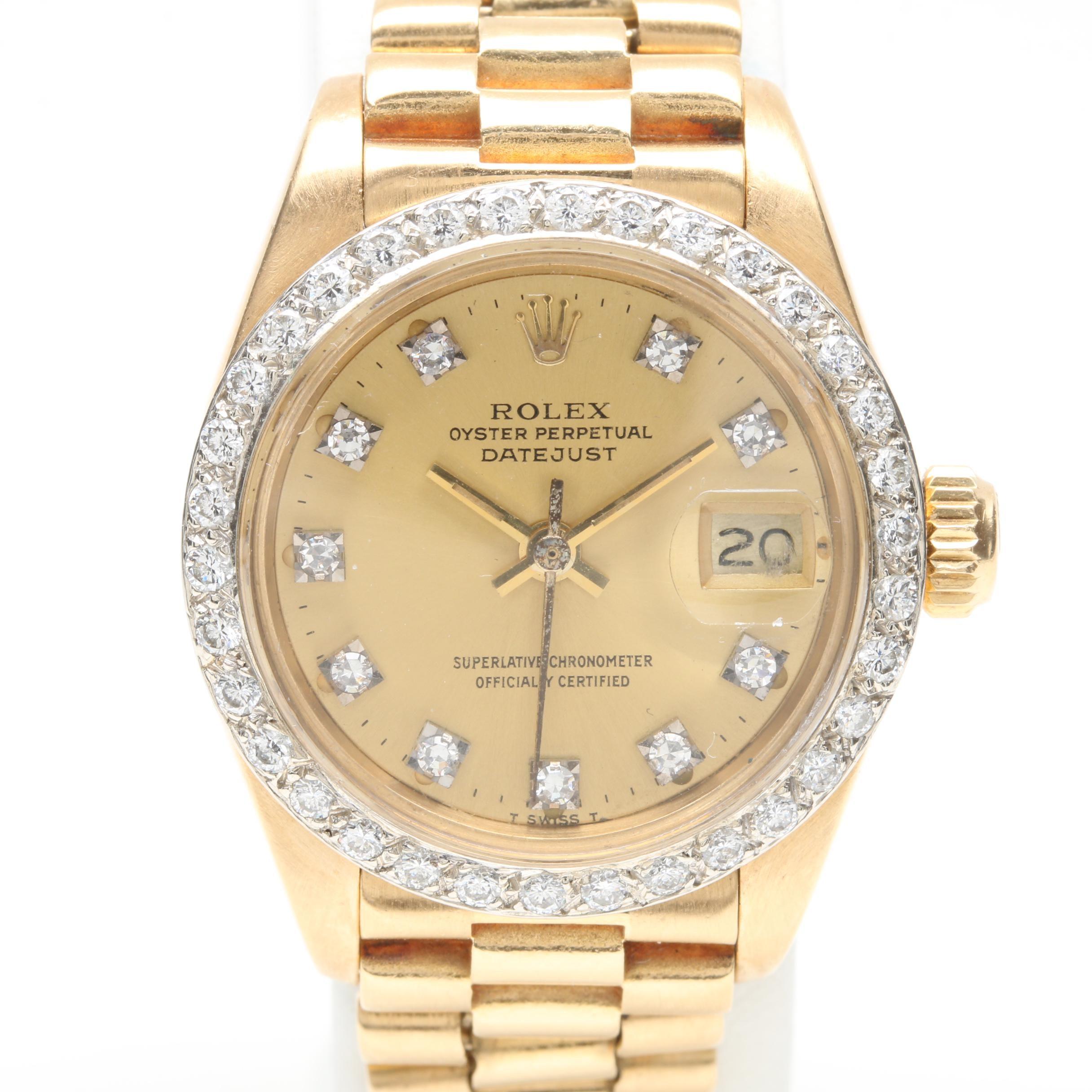 Vintage Rolex Oyster Perpetual Datejust 18K Yellow Gold Diamond Wristwatch
