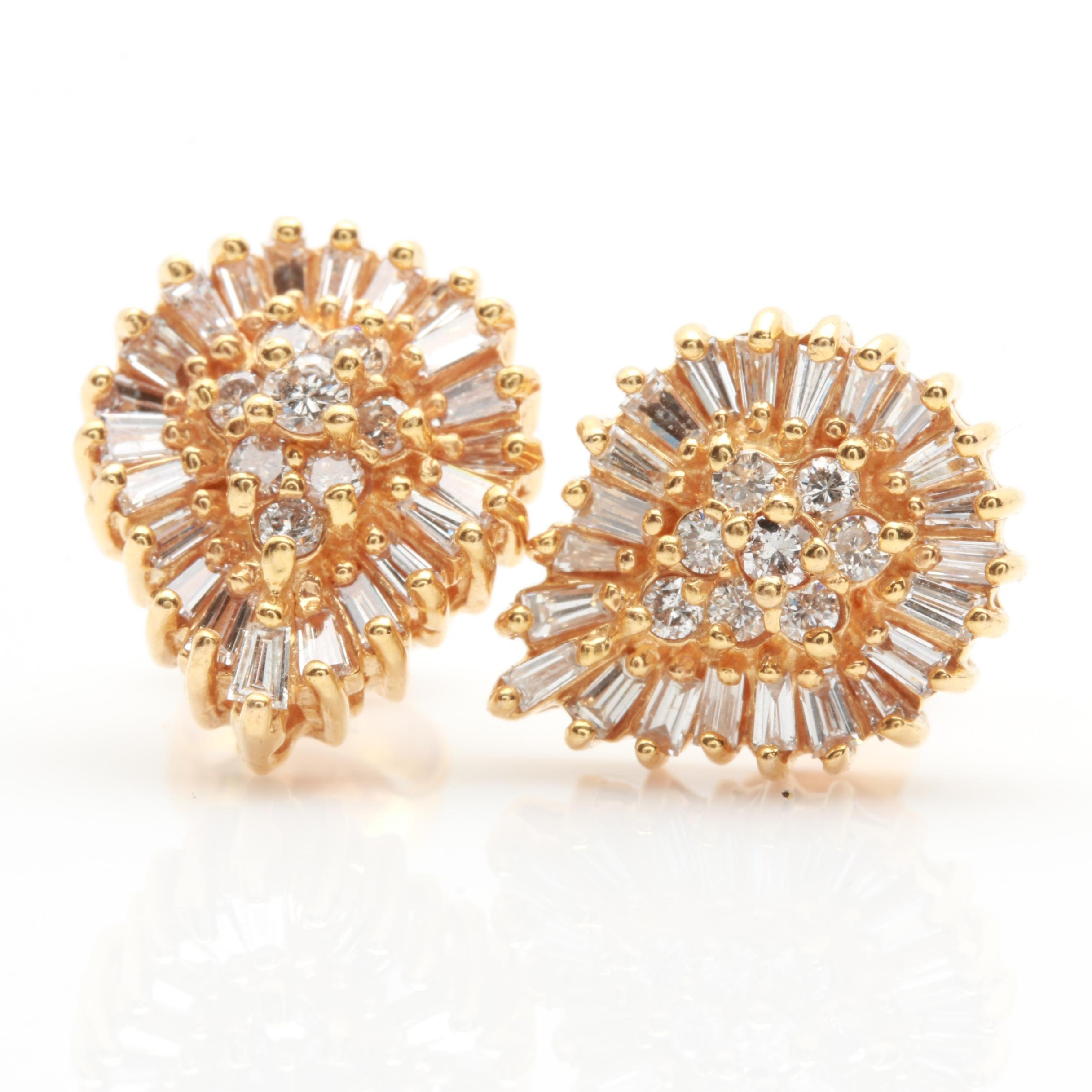 14K and 18K Yellow Gold 1.18 CTW Diamond Earrings
