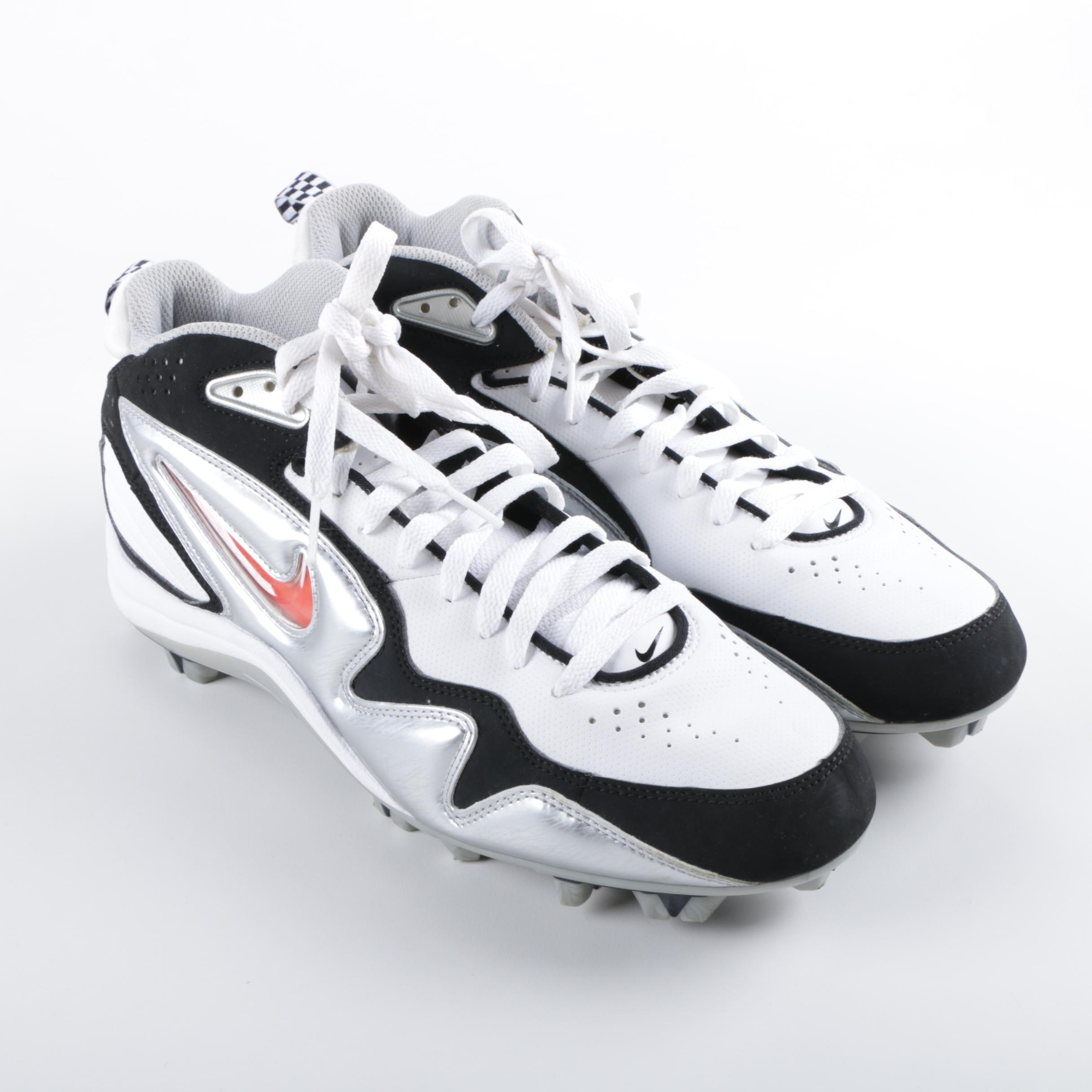 Men's Nike Speedlax II White, Black and Metallic Silver Football Cleats