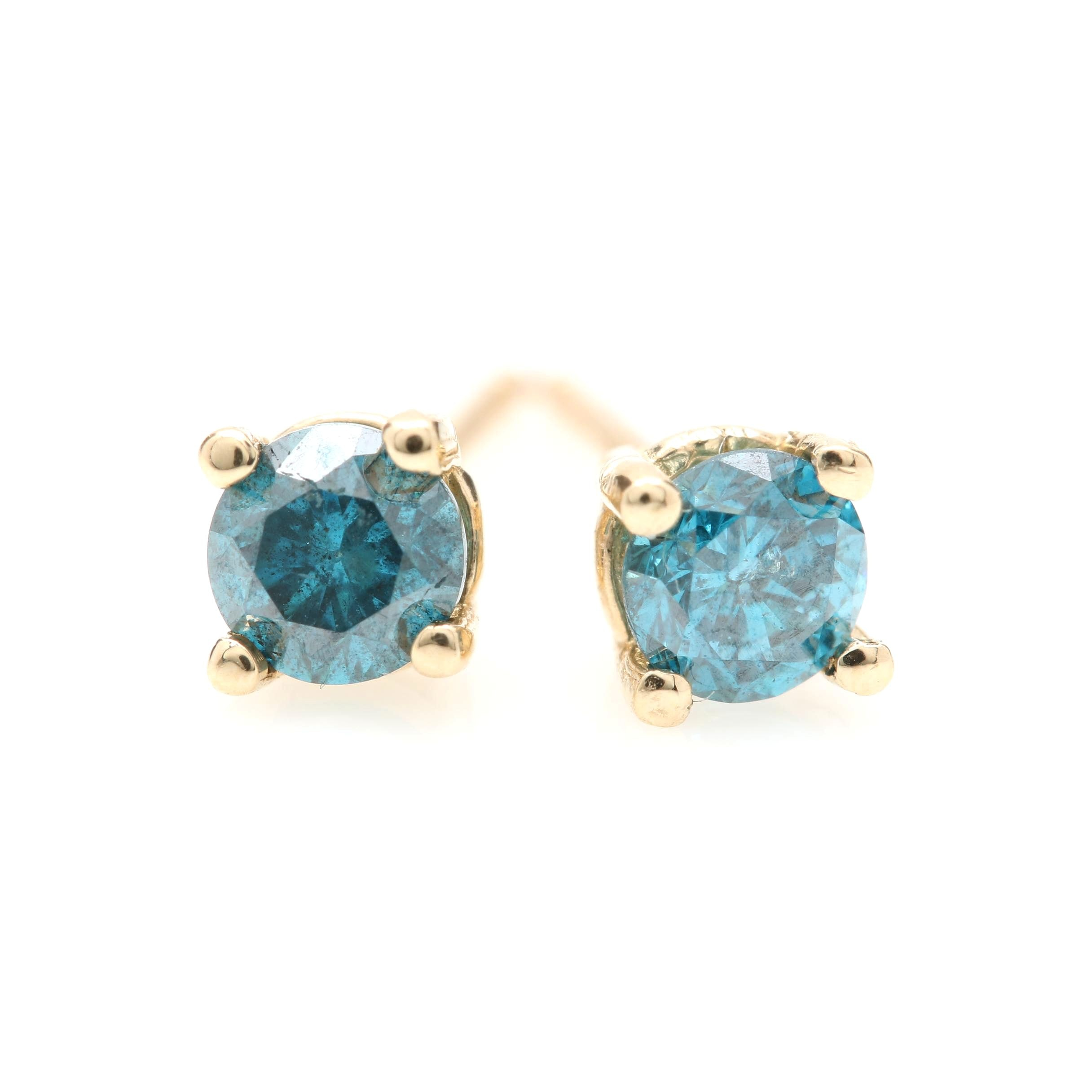 14K Yellow Gold Blue Diamond Stud Earrings