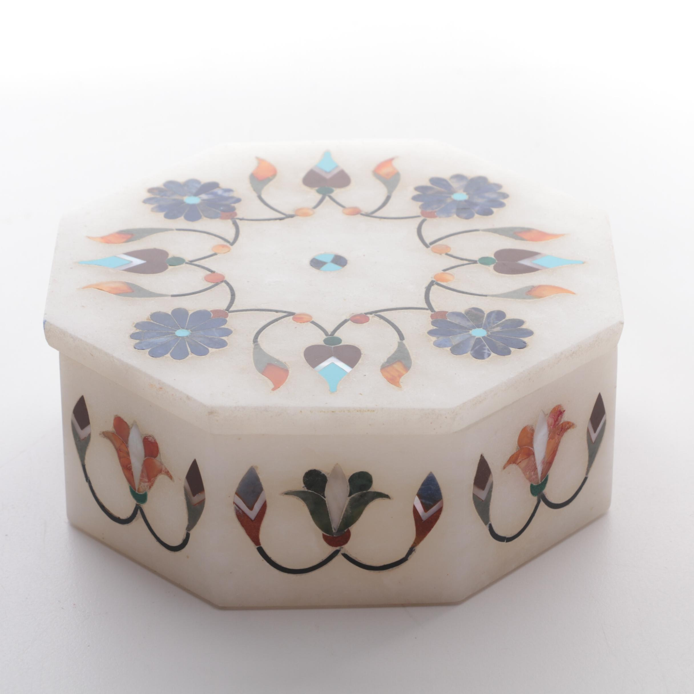 Marble Inlaid Lidded Trinket Box