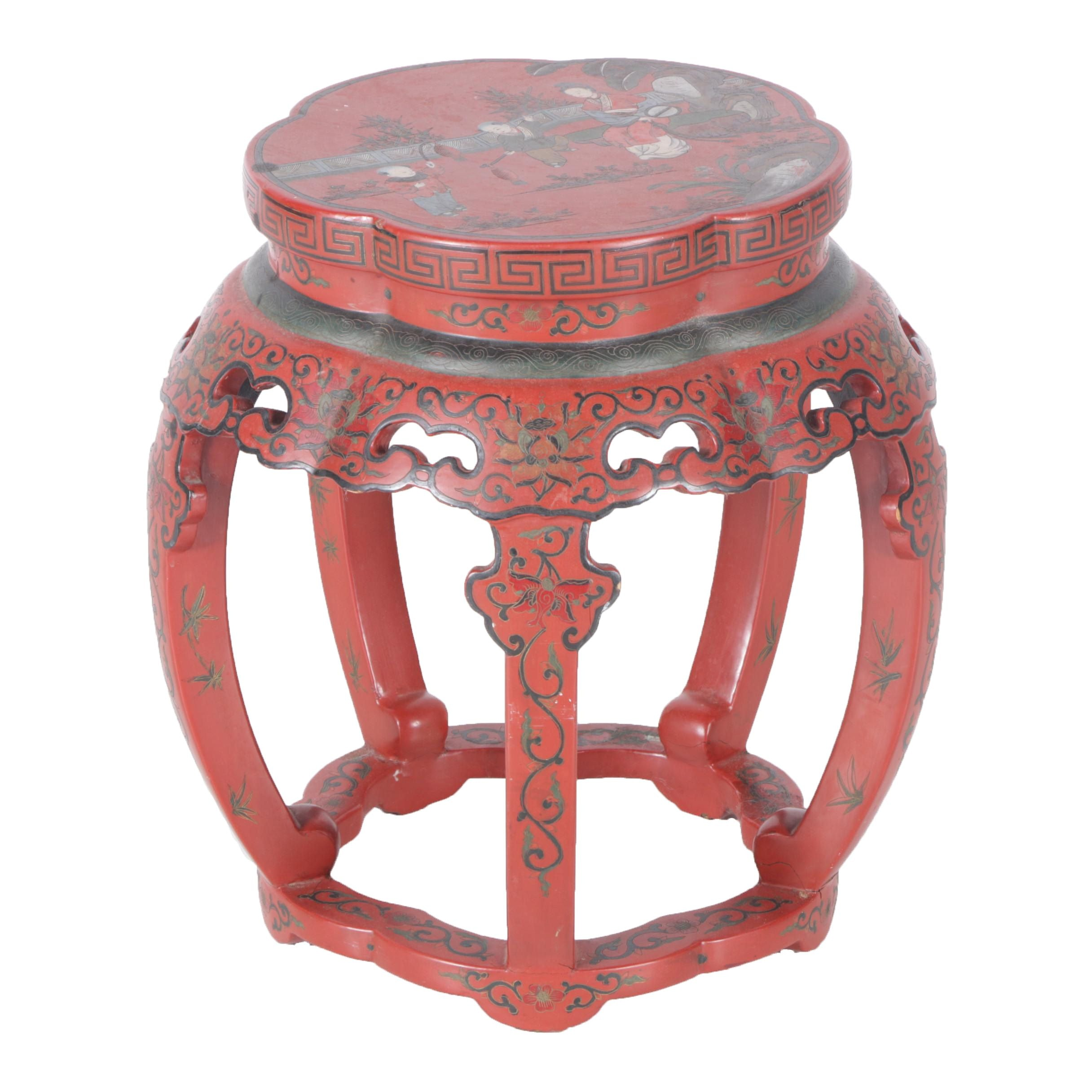 Chinese Lacquered Drum Stool