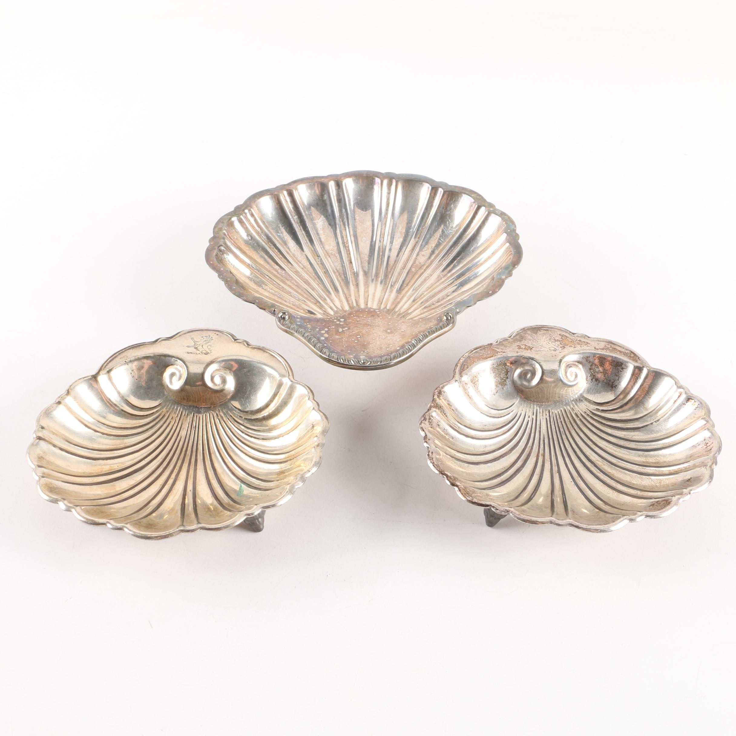 Vintage Silver Plate Shell Dishes Featuring Friedman Silver Co. and Barbour