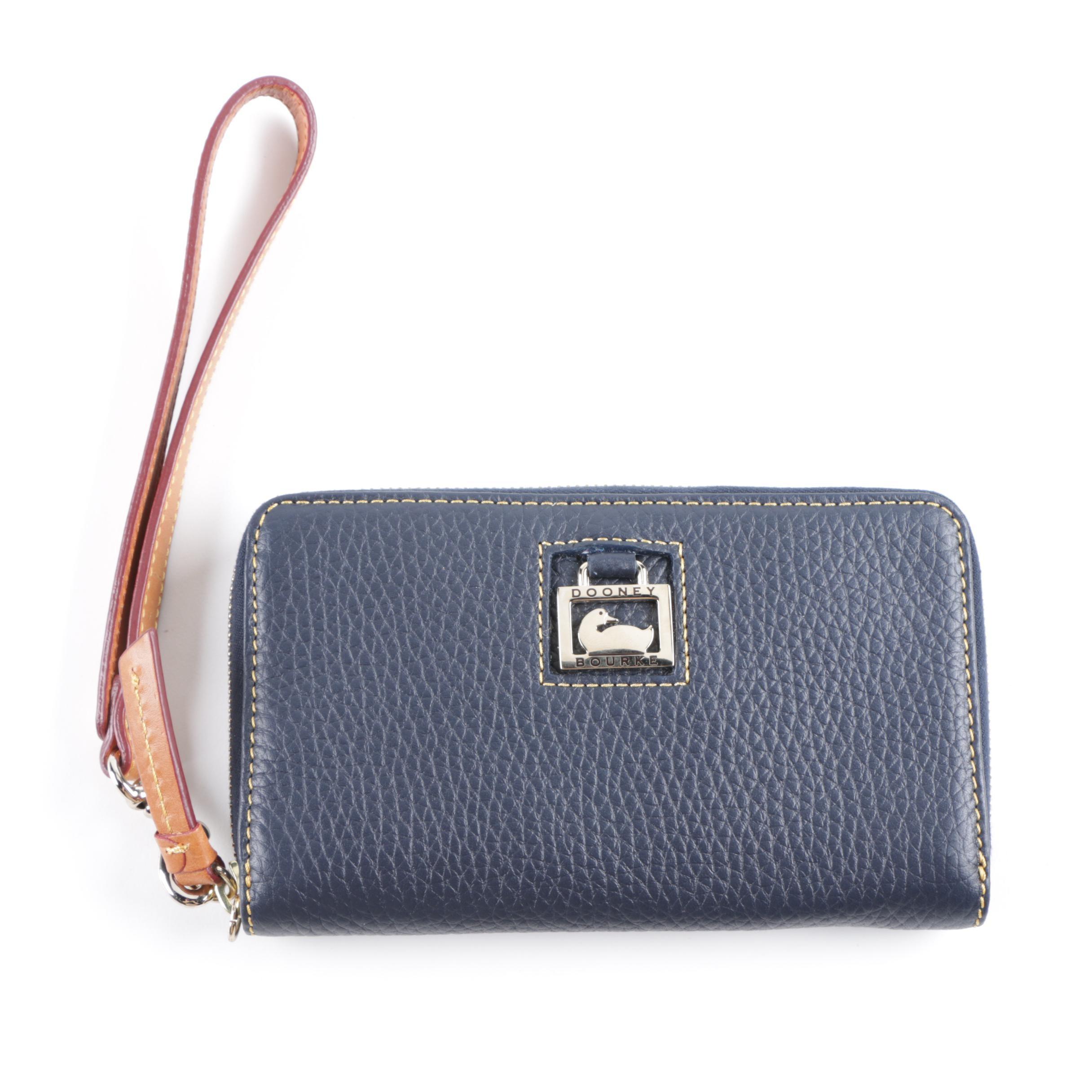 Dooney & Bourke Navy Leather Wristlet Wallet