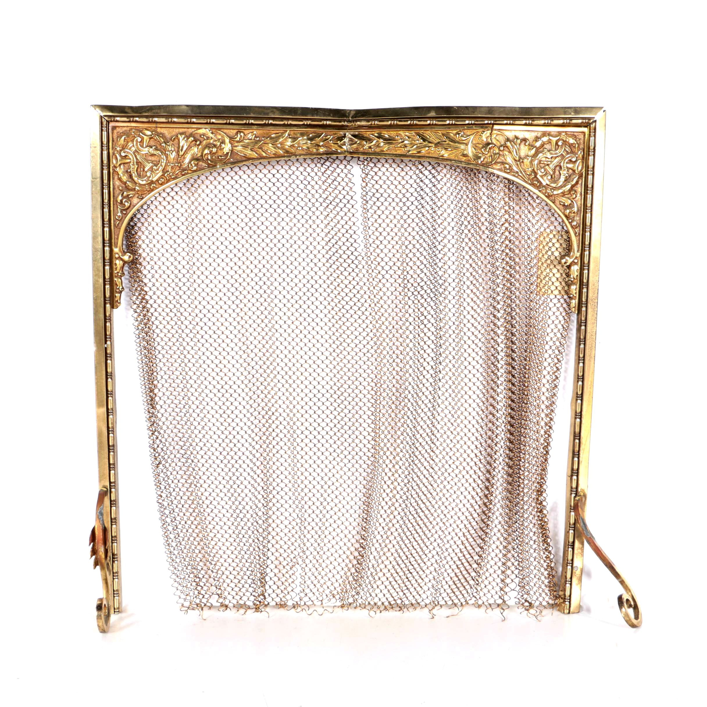 Brass Renaissance Revival Style Fireplace Grate with Mesh Screen