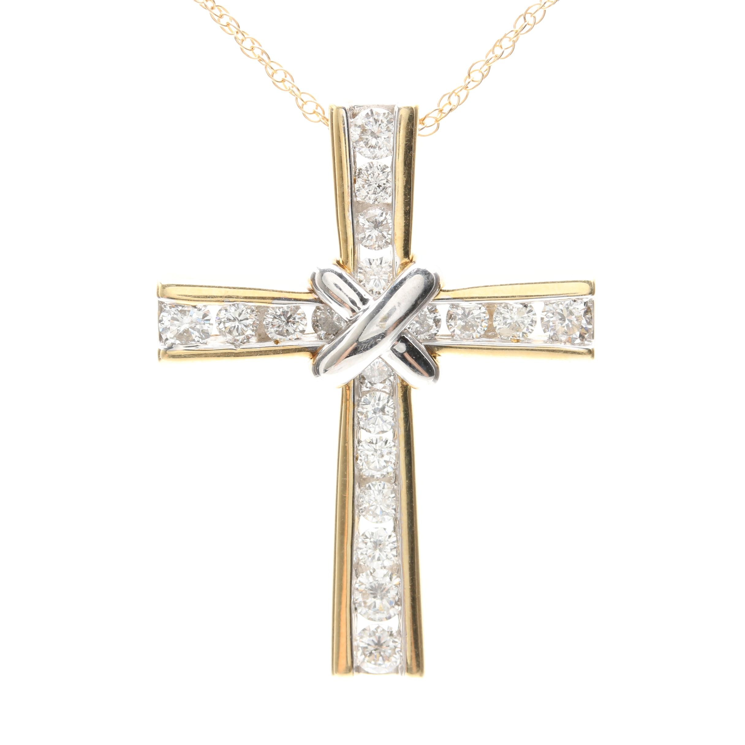 14K Yellow Gold 1.04 CTW Diamond Cross Pendant Necklace