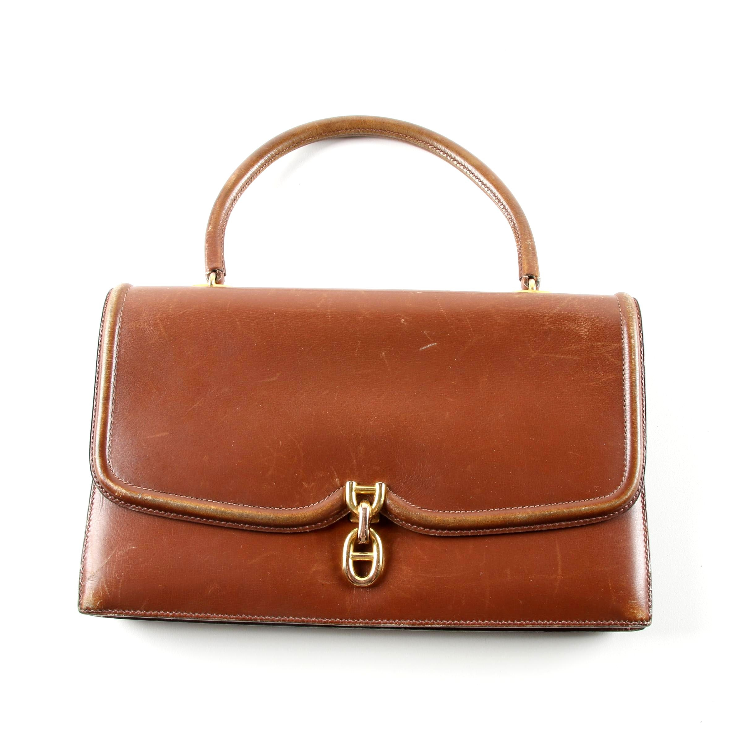 Hermès Brown Box Calf Leather Handbag