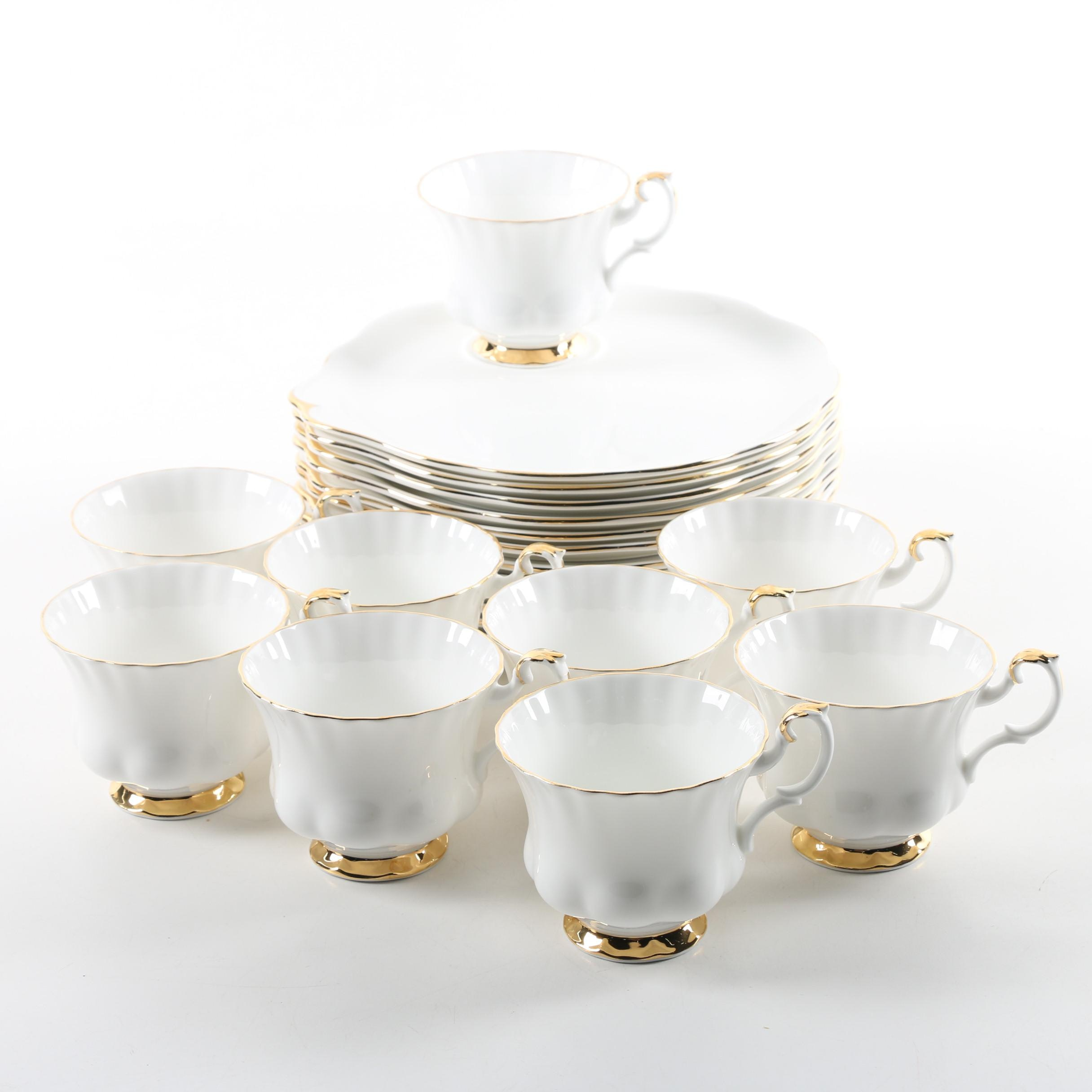 "Royal Albert ""Val D'or"" Porcelain Snack Plates and Cups"