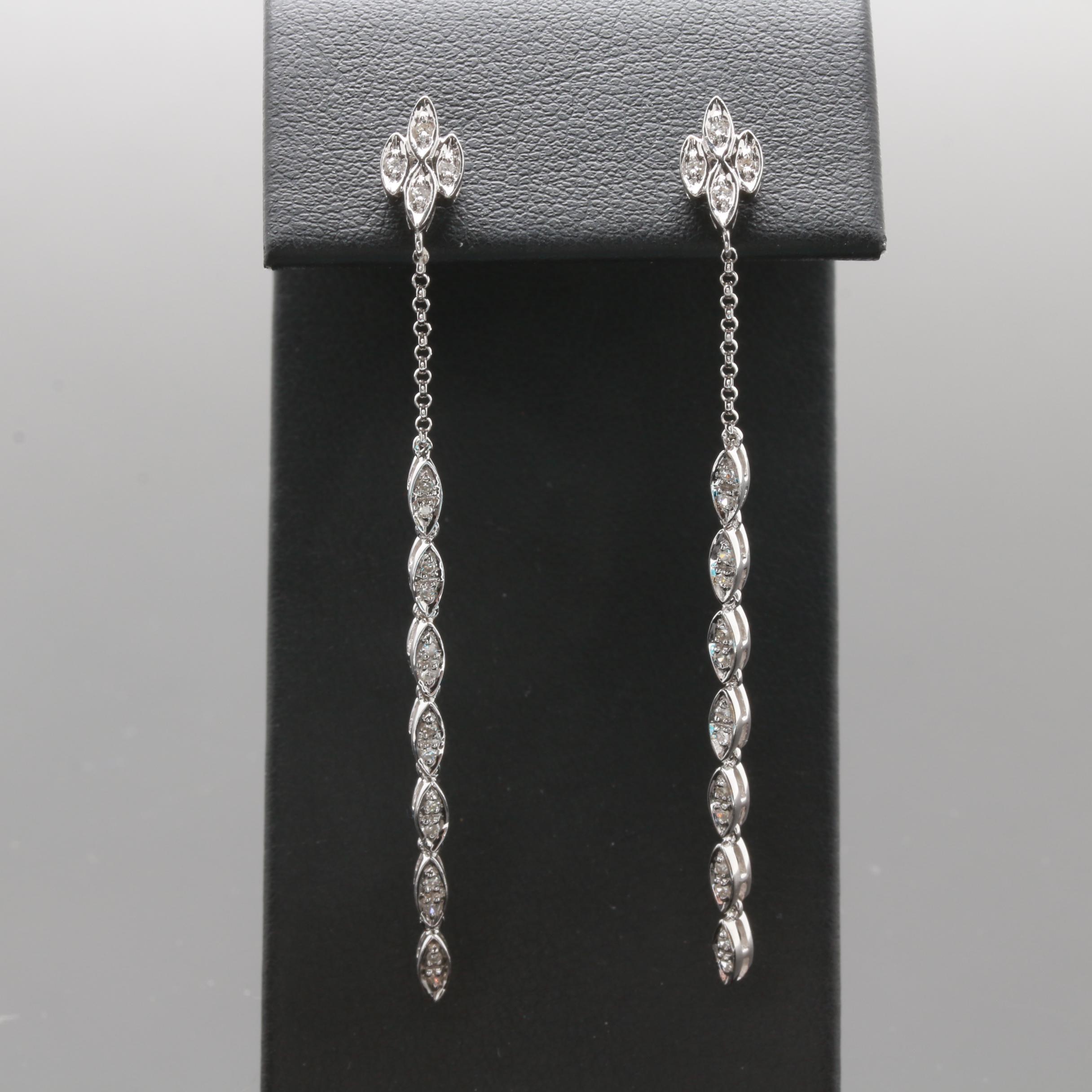14K White Gold Diamond Dangle Earring