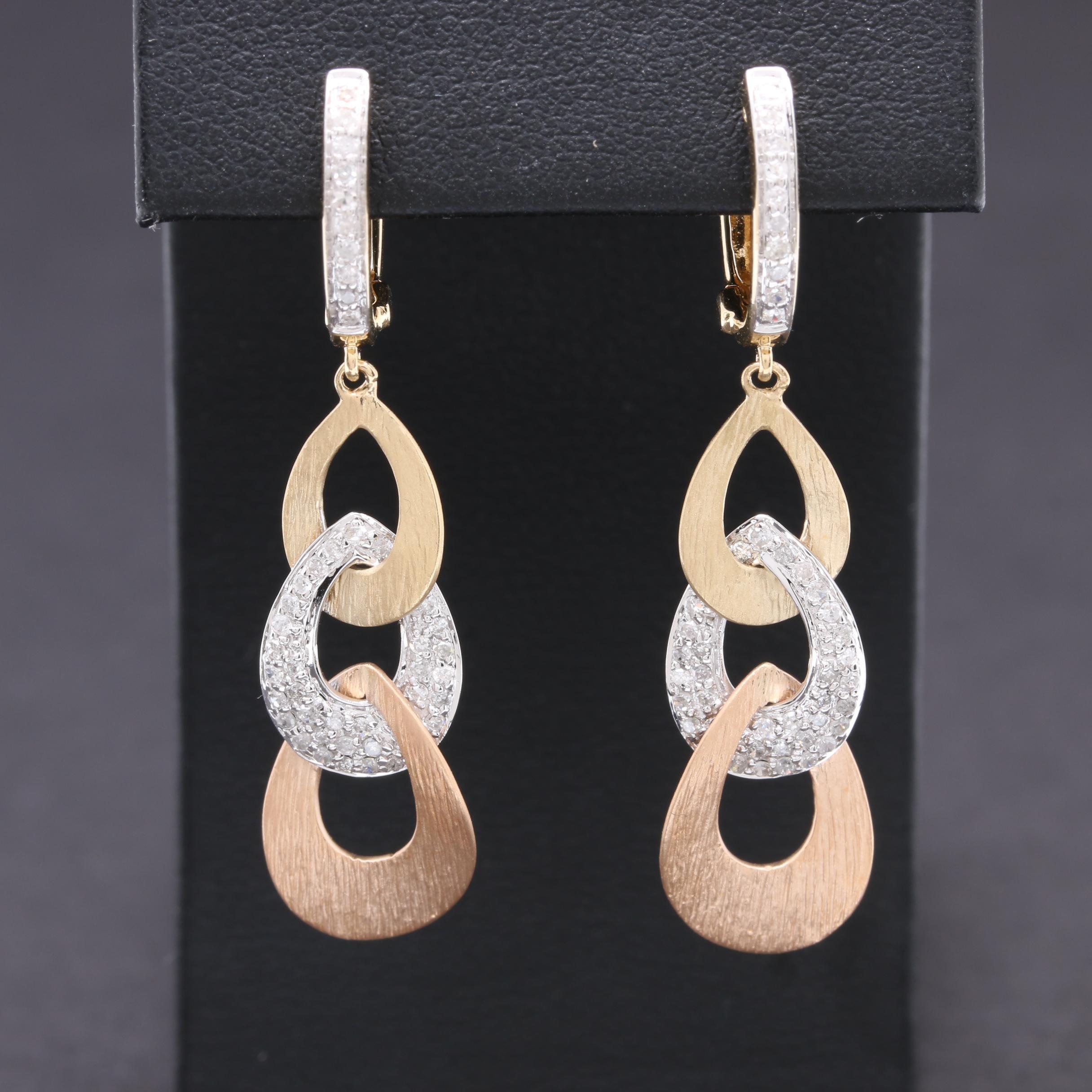 14K Rose, White, and Yellow Gold Diamond Earrings