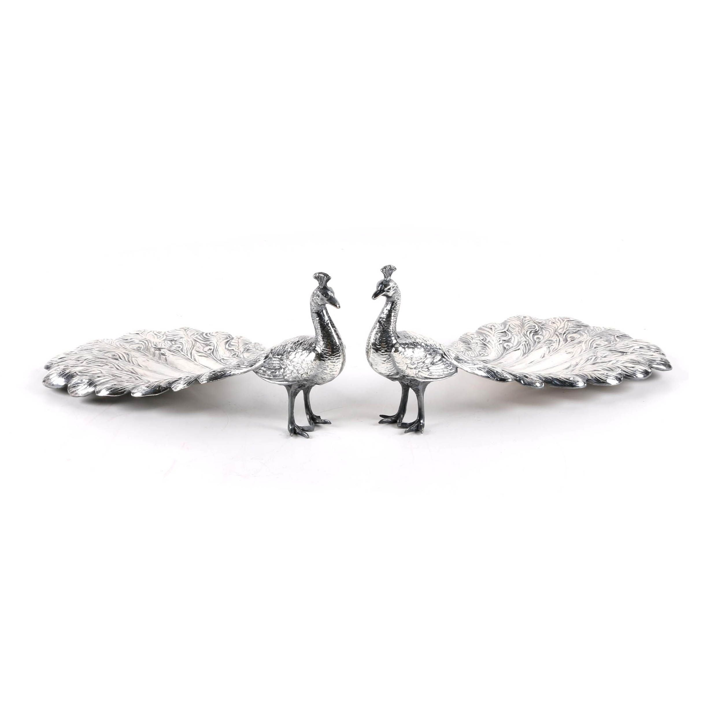 Silver-Plated Peacock Bonbon Dishes