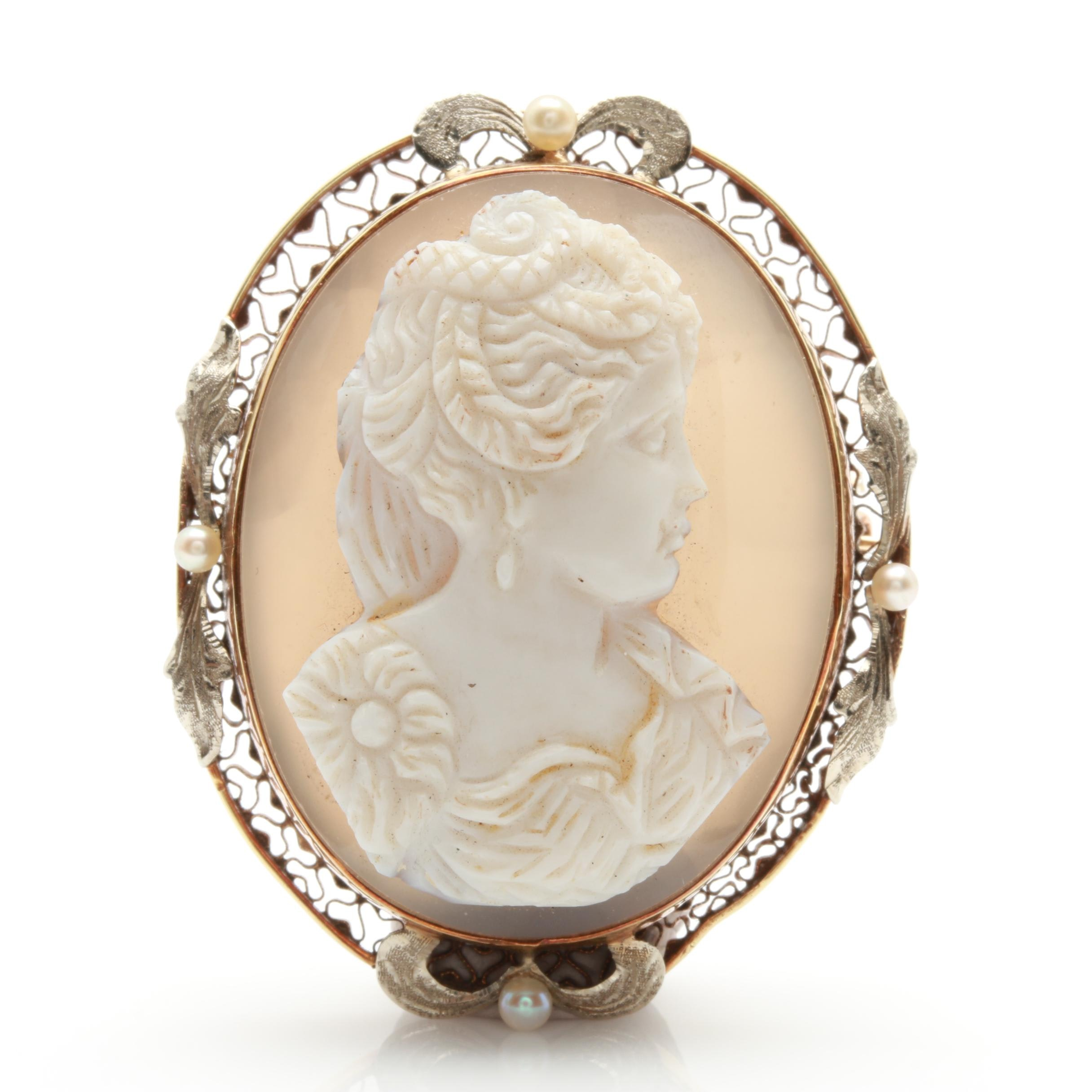 Belle Époque 14K Yellow Gold Agate and Seed Pearl Cameo Converter Brooch
