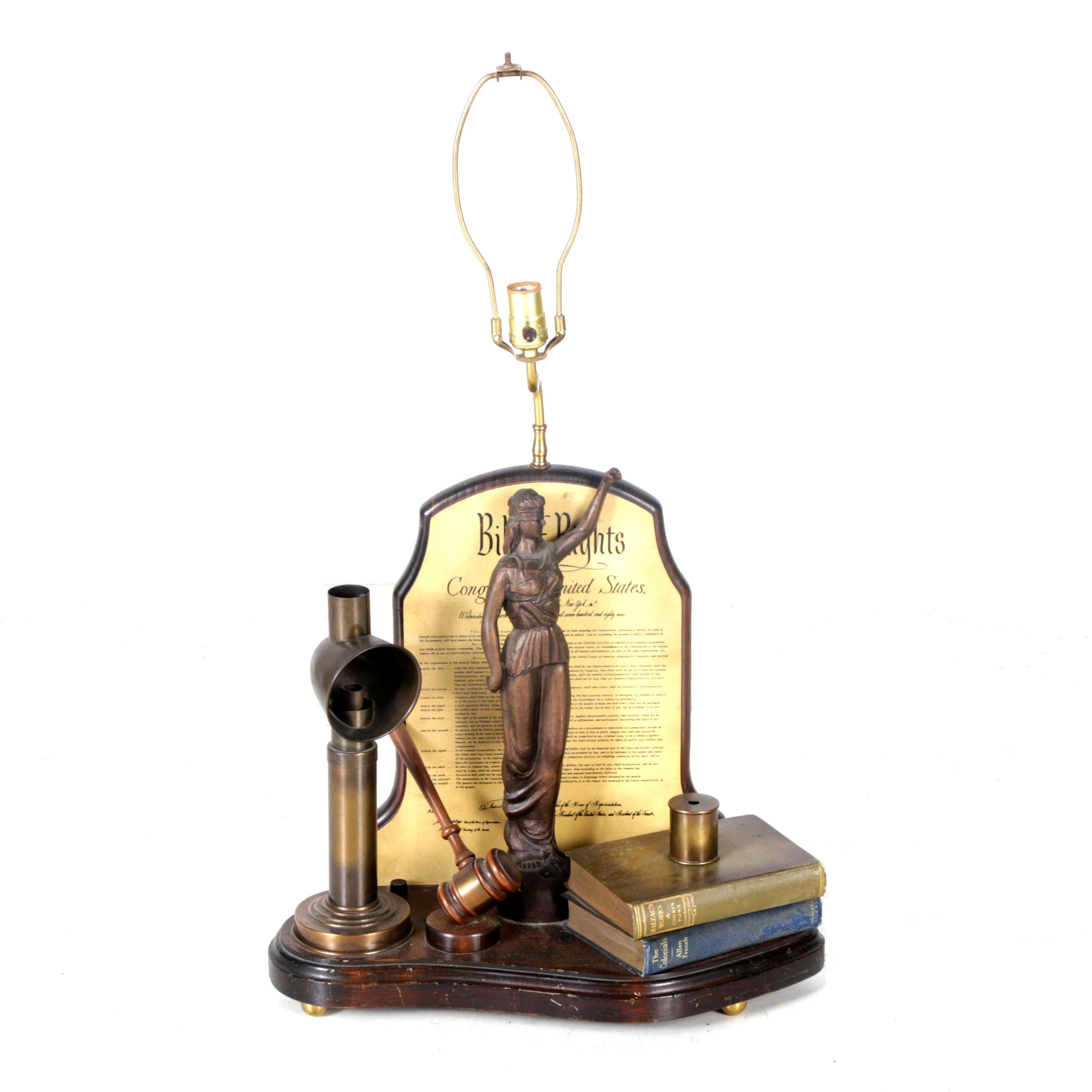 "Vintage Custom Crafted ""Bill of Rights"" Table Lamp by Nightwatch Lamp Co."