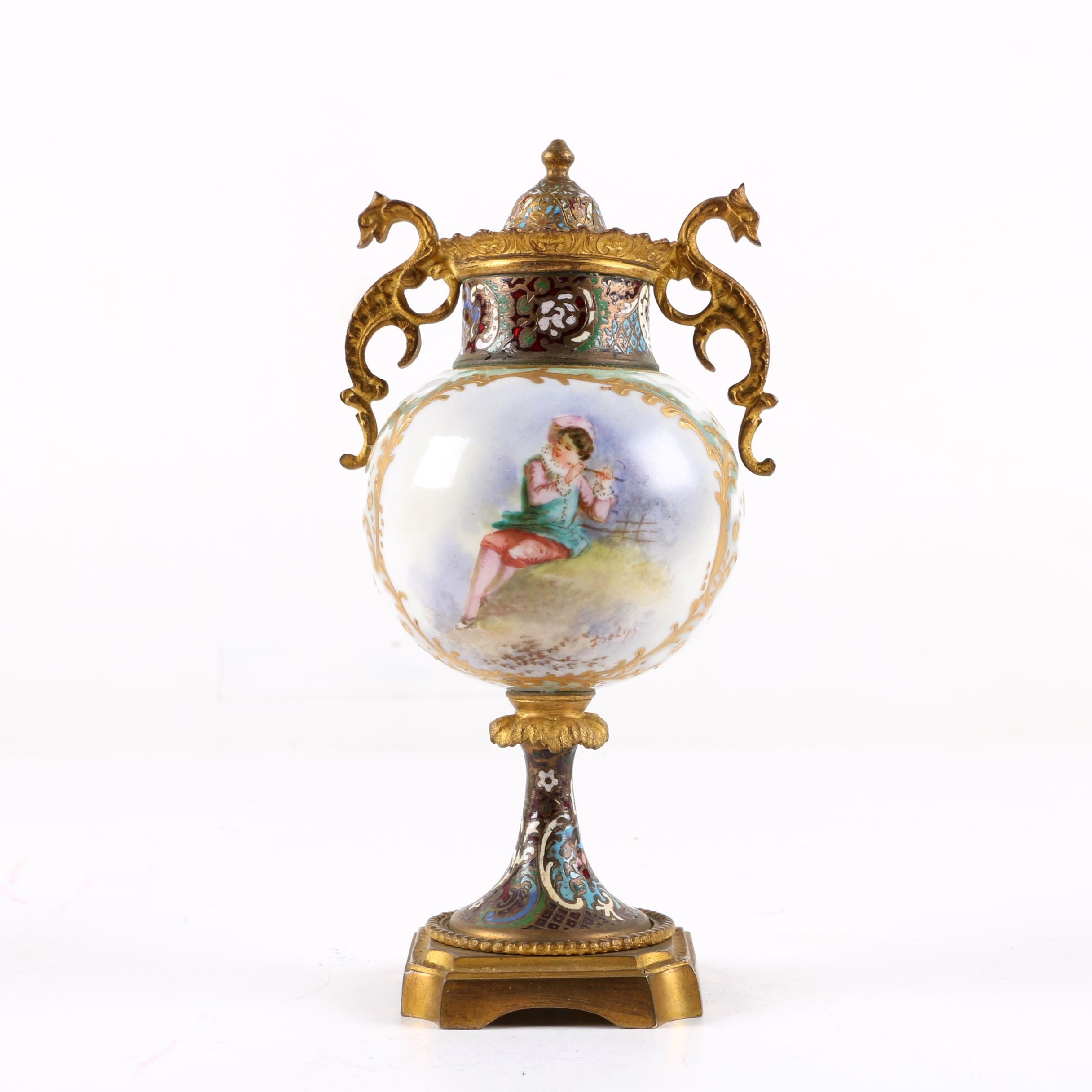 Signed Antique Hand-Painted French Sevres Style Urn with Champleve Accents