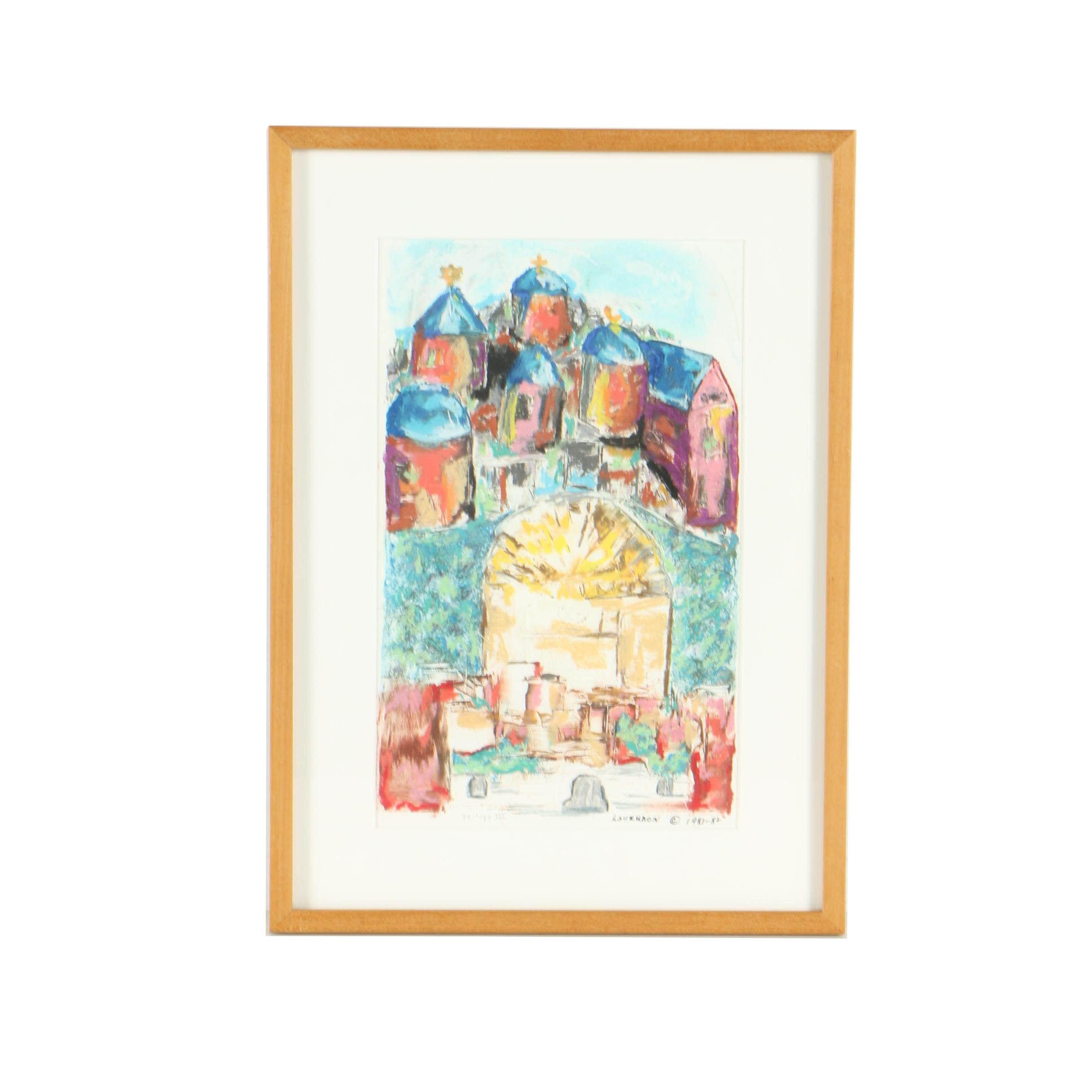 """Lanzkron Vintage Pastel Drawing """"Trilogy III"""""""