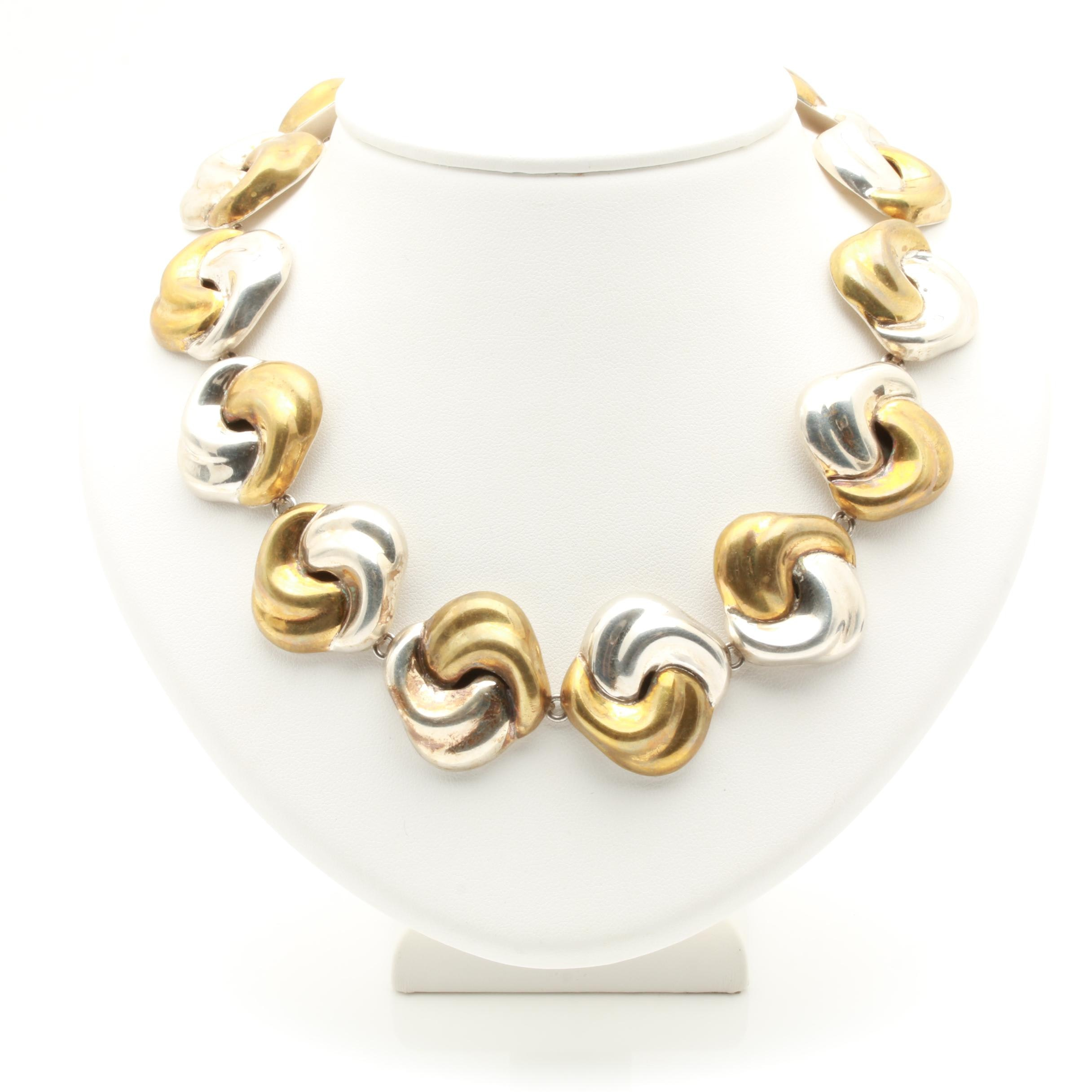 Taxco Sterling Silver and Brass Link Necklace