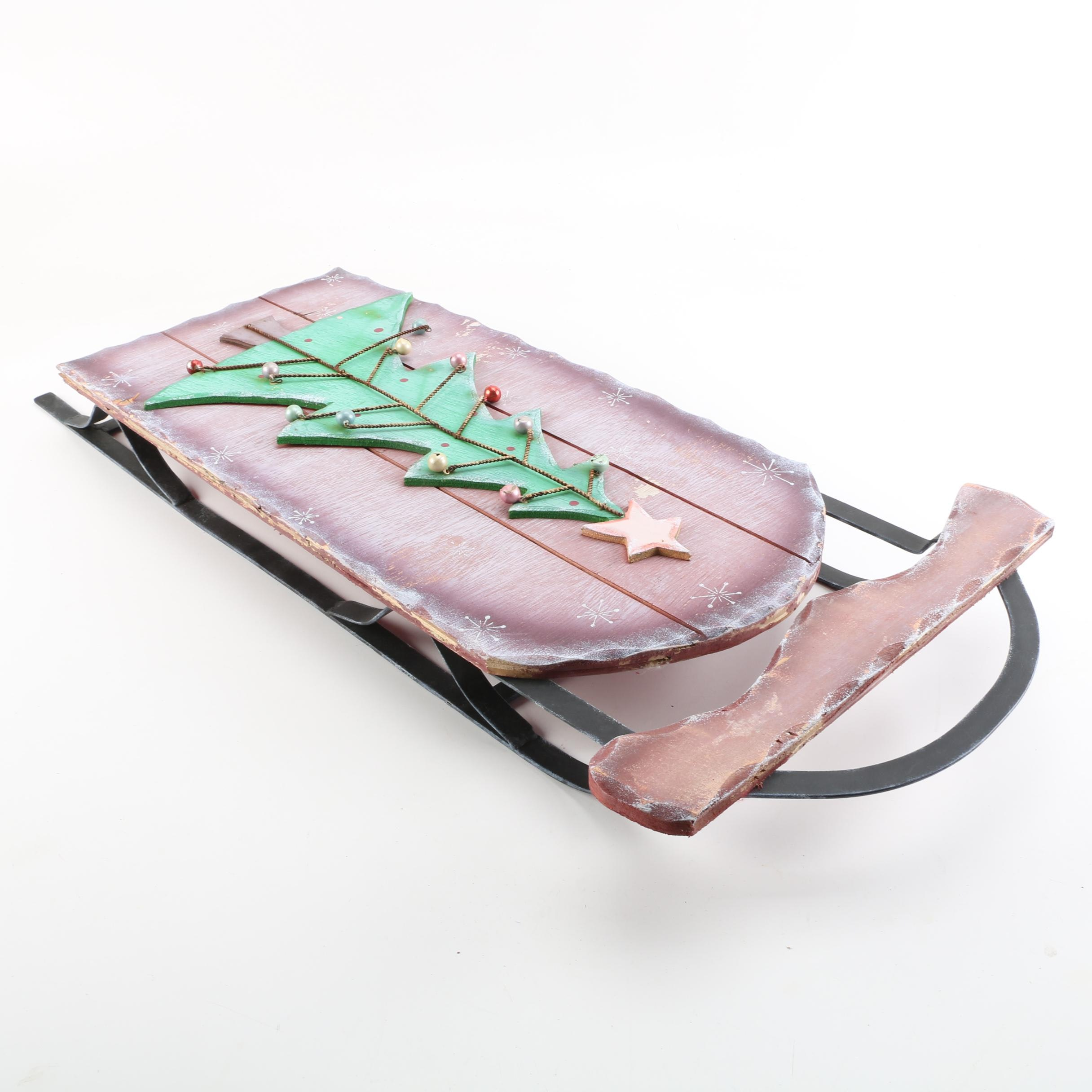 Decorative Christmas Sled with Tree Motif