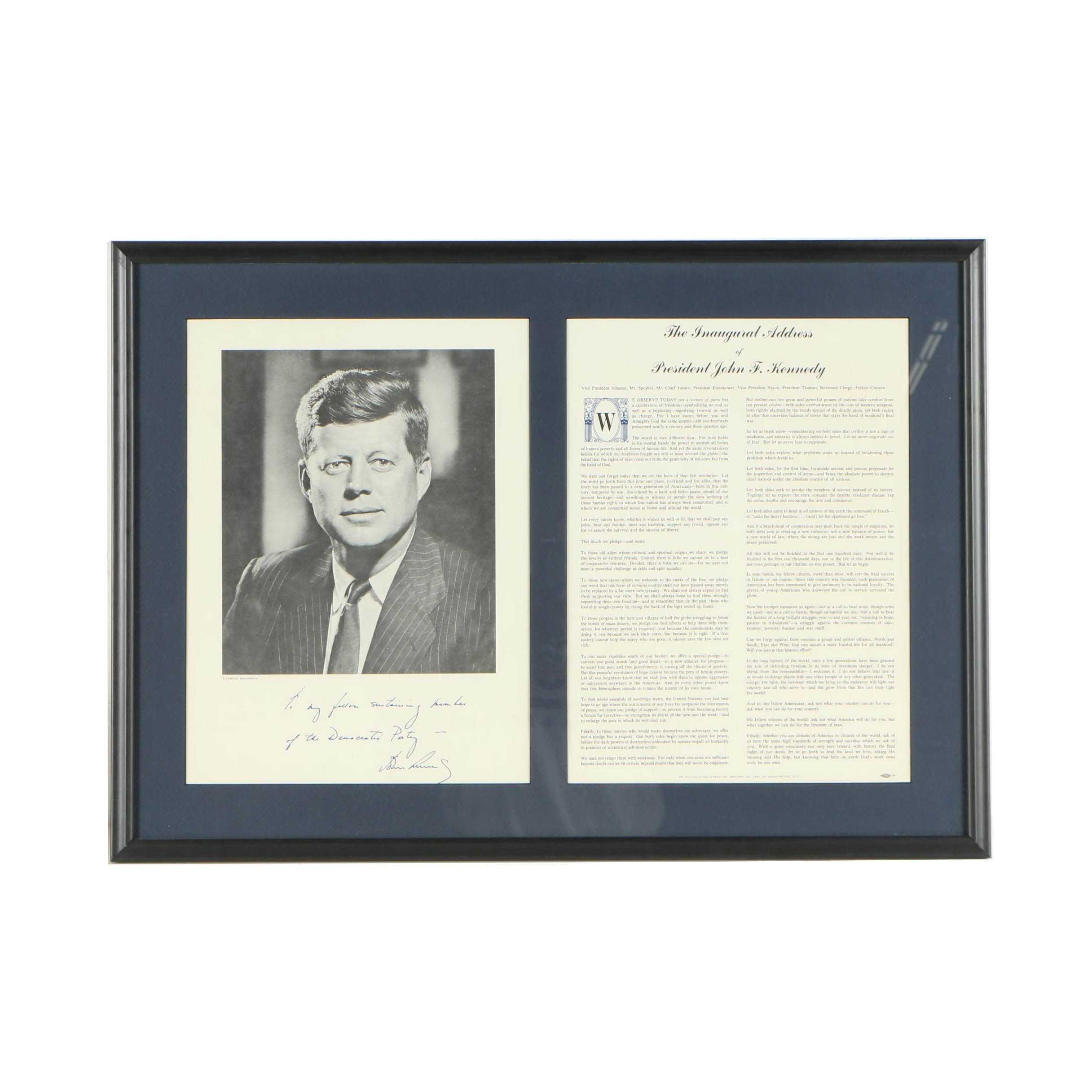 John F. Kennedy Offset Lithograph with Inaugural Address Transcript