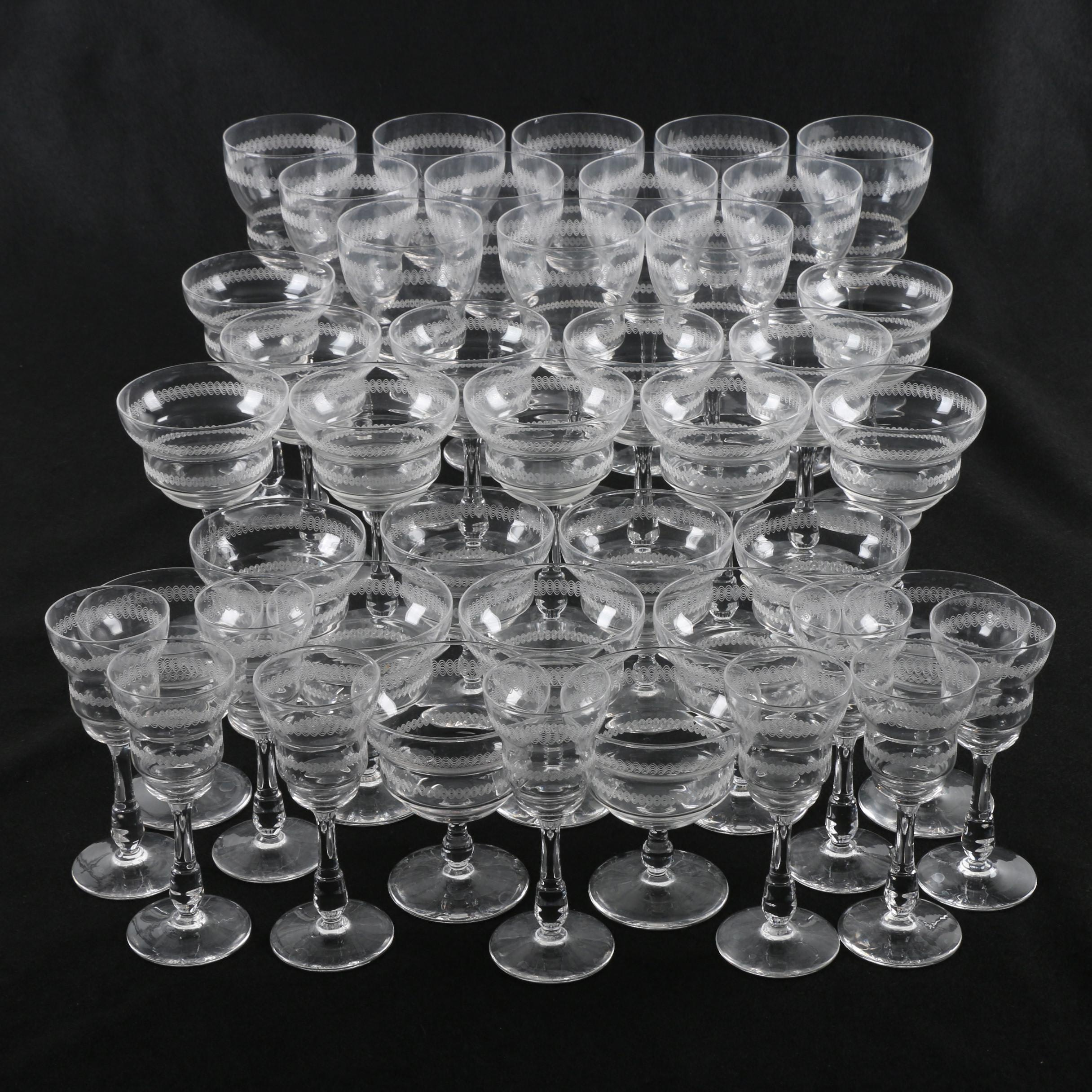 Vintage Needle Etched Stemware with Red and White Wine Glasses and Others