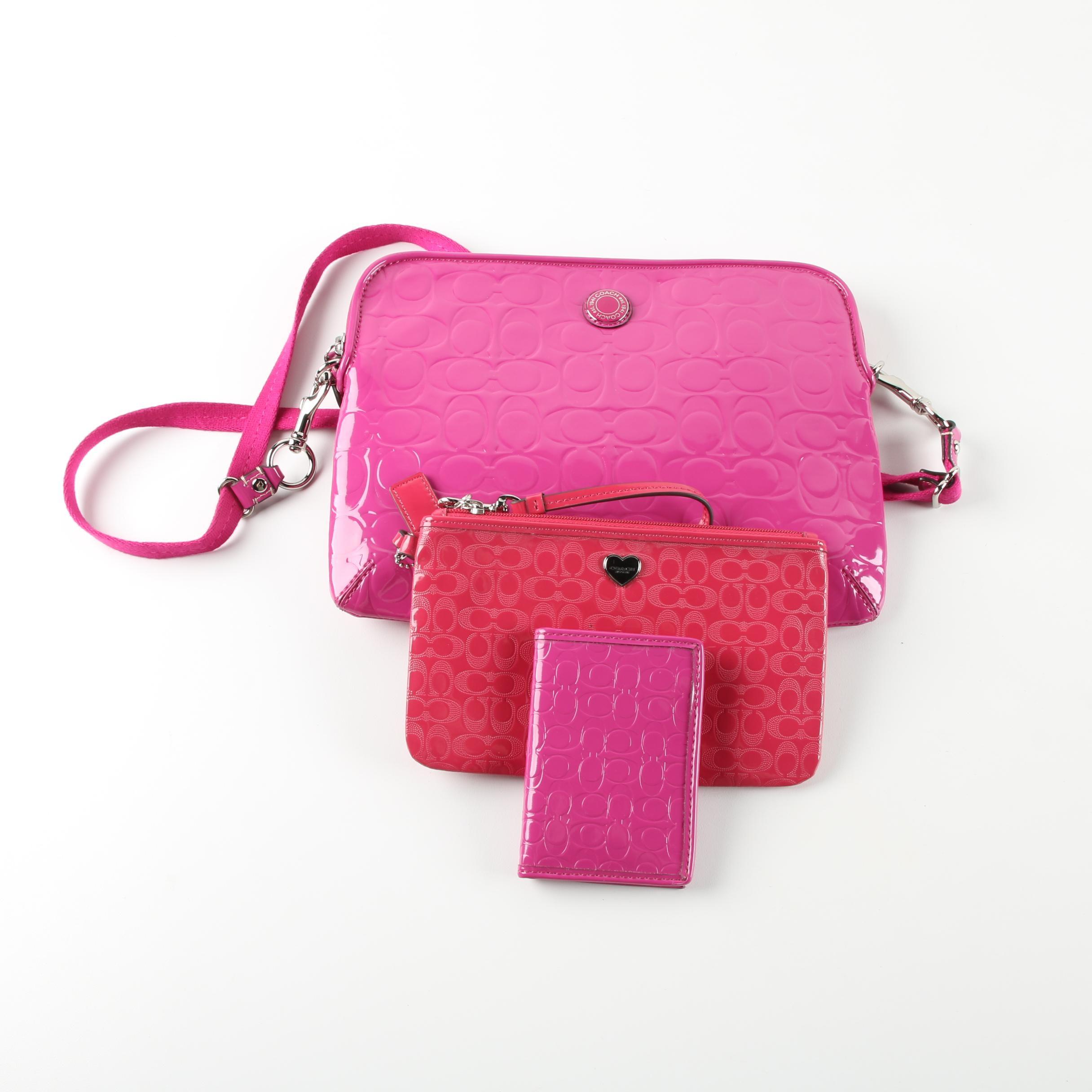 Coach Monogram Pink Patent Leather Shoulder Bag, Wristlet, and Card Case