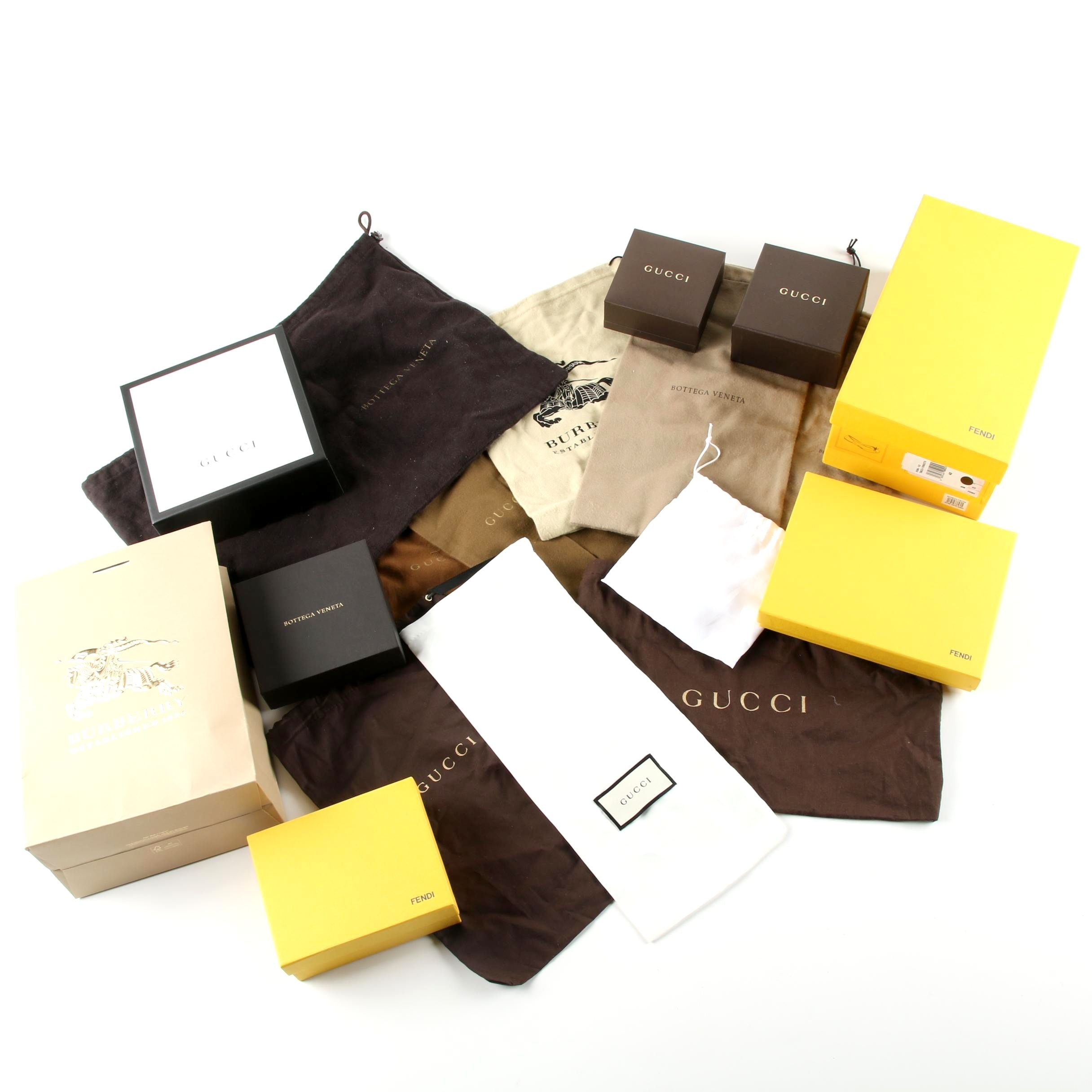 Designer Dust Covers, Boxes and Shopping Bags Including Gucci and Fendi