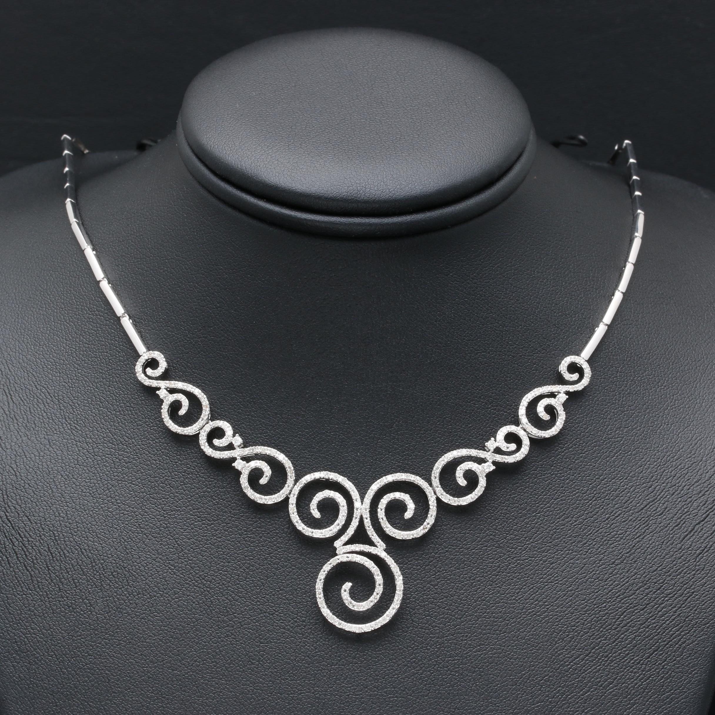 14K White Gold Diamond Open Swirl Necklace