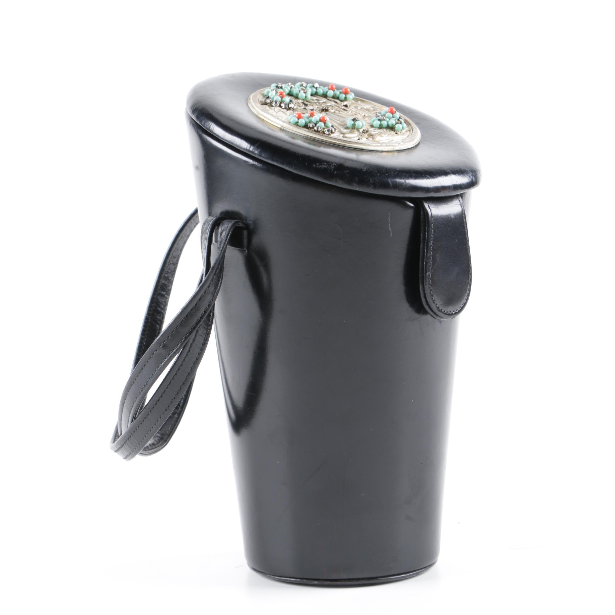 1950s Vintage Black Leather Cylindrical Handbag