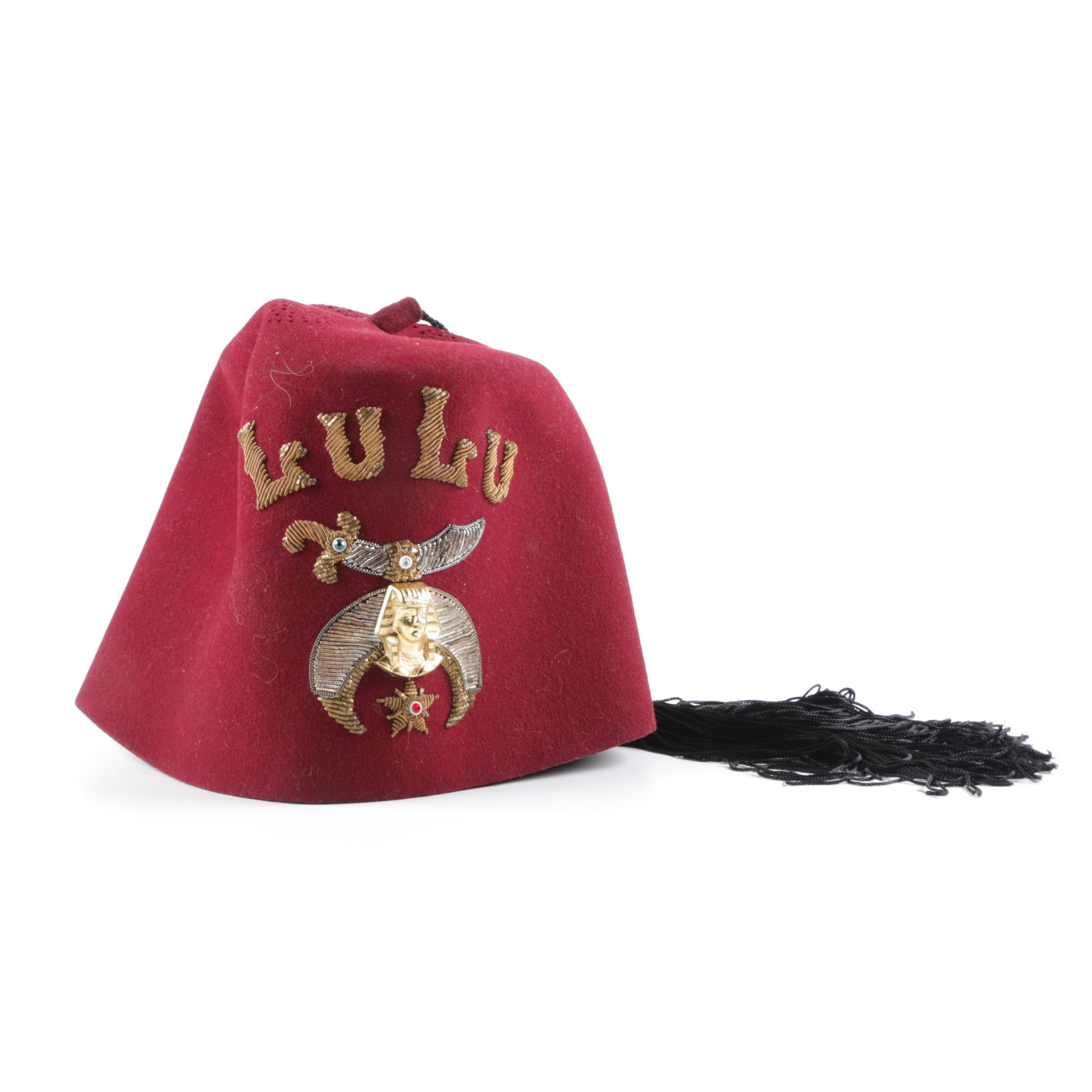 Vintage Red Wool Shriners Fez