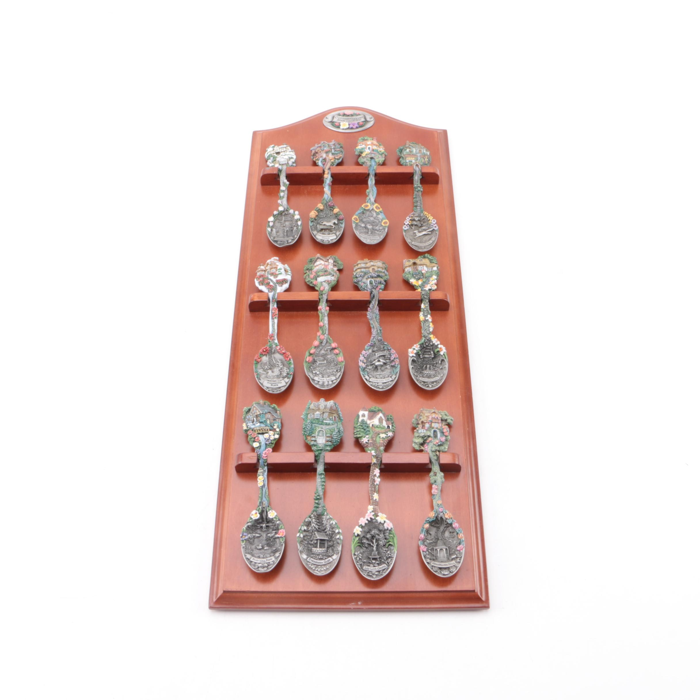 The Franklin Mint Pewter Cottage Garden Spoon Collection