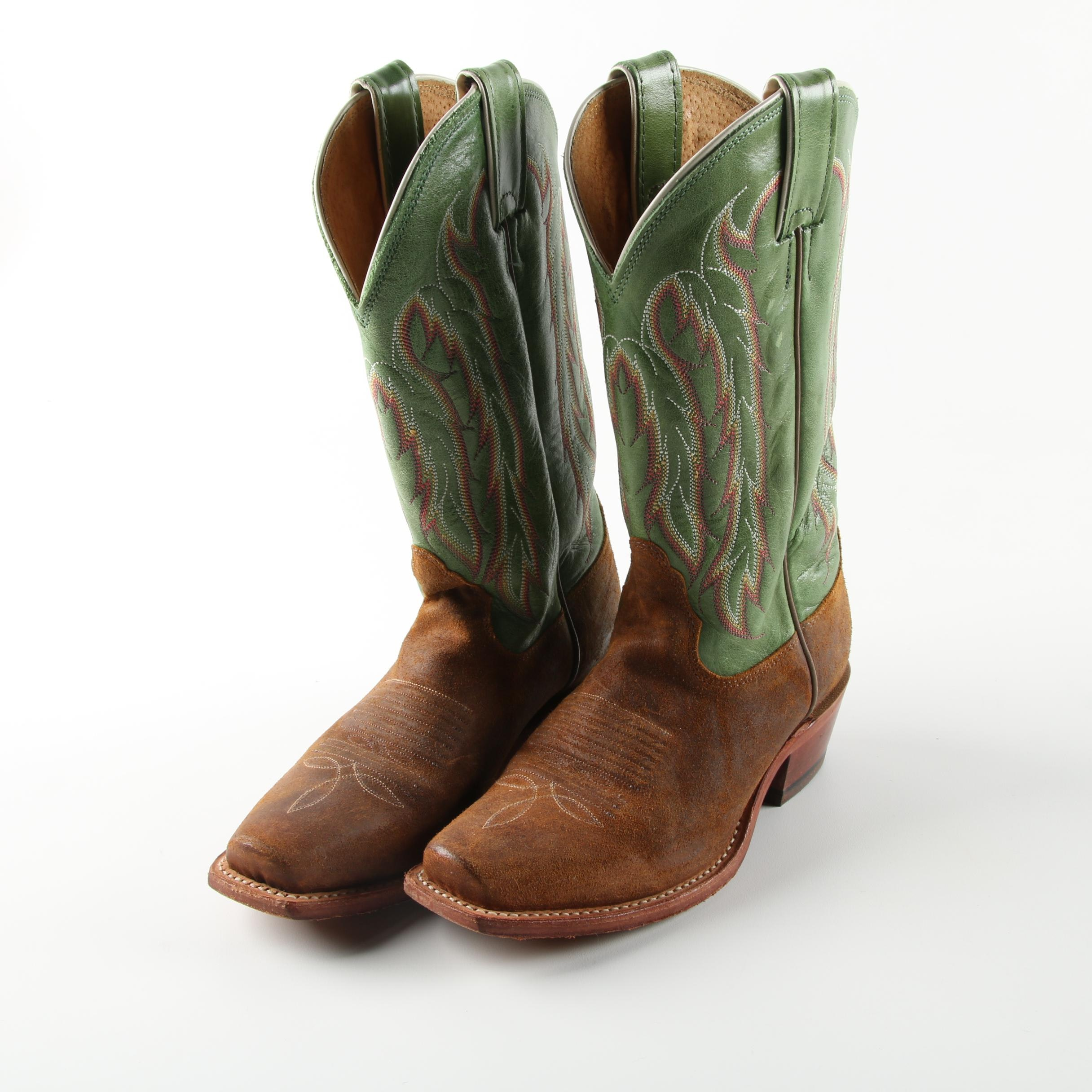 Women's Nocona Green and Brown Leather Western Square Toe Boots