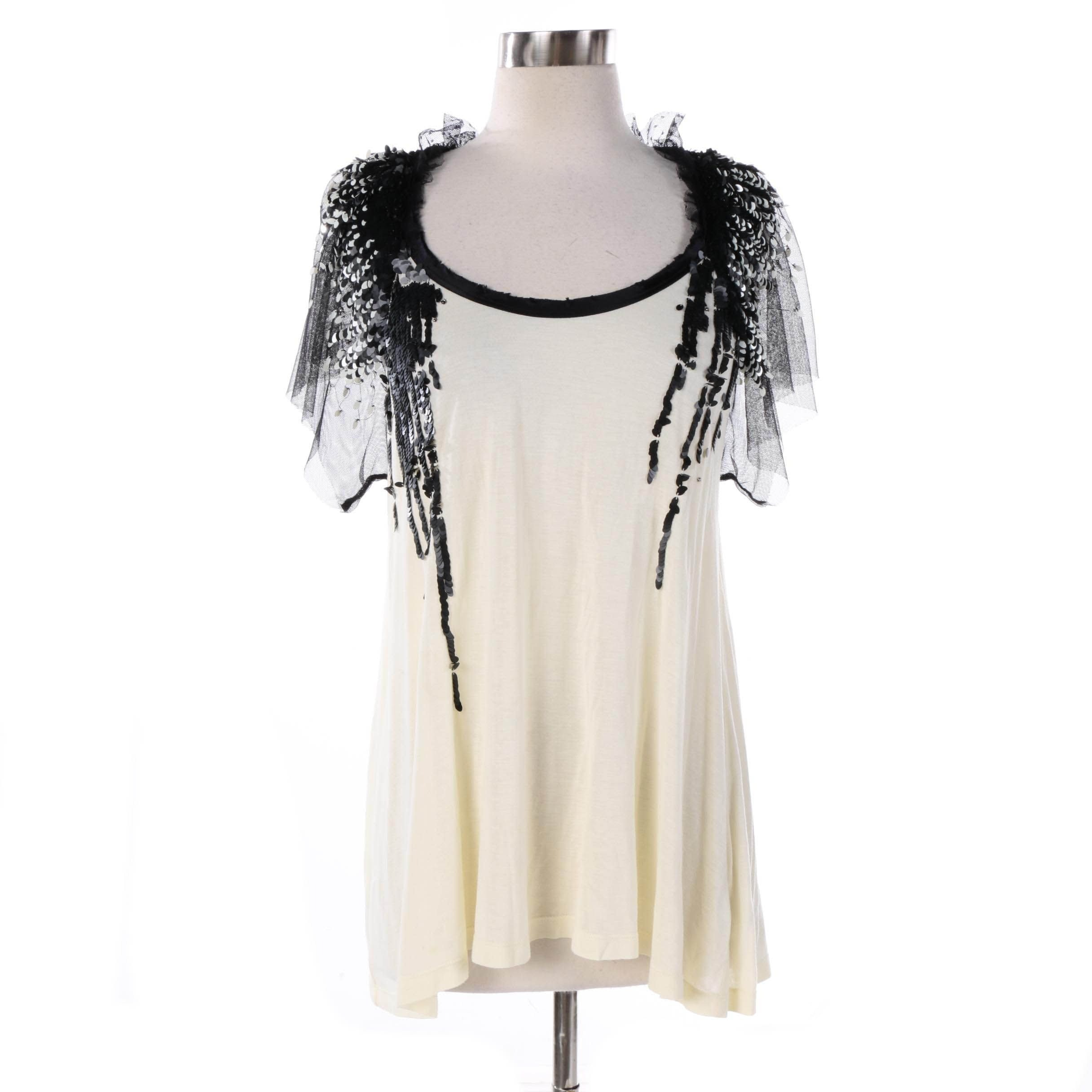 Women's Valentino T-Shirt Couture Cream Top with Sequin and Mesh Embellishments