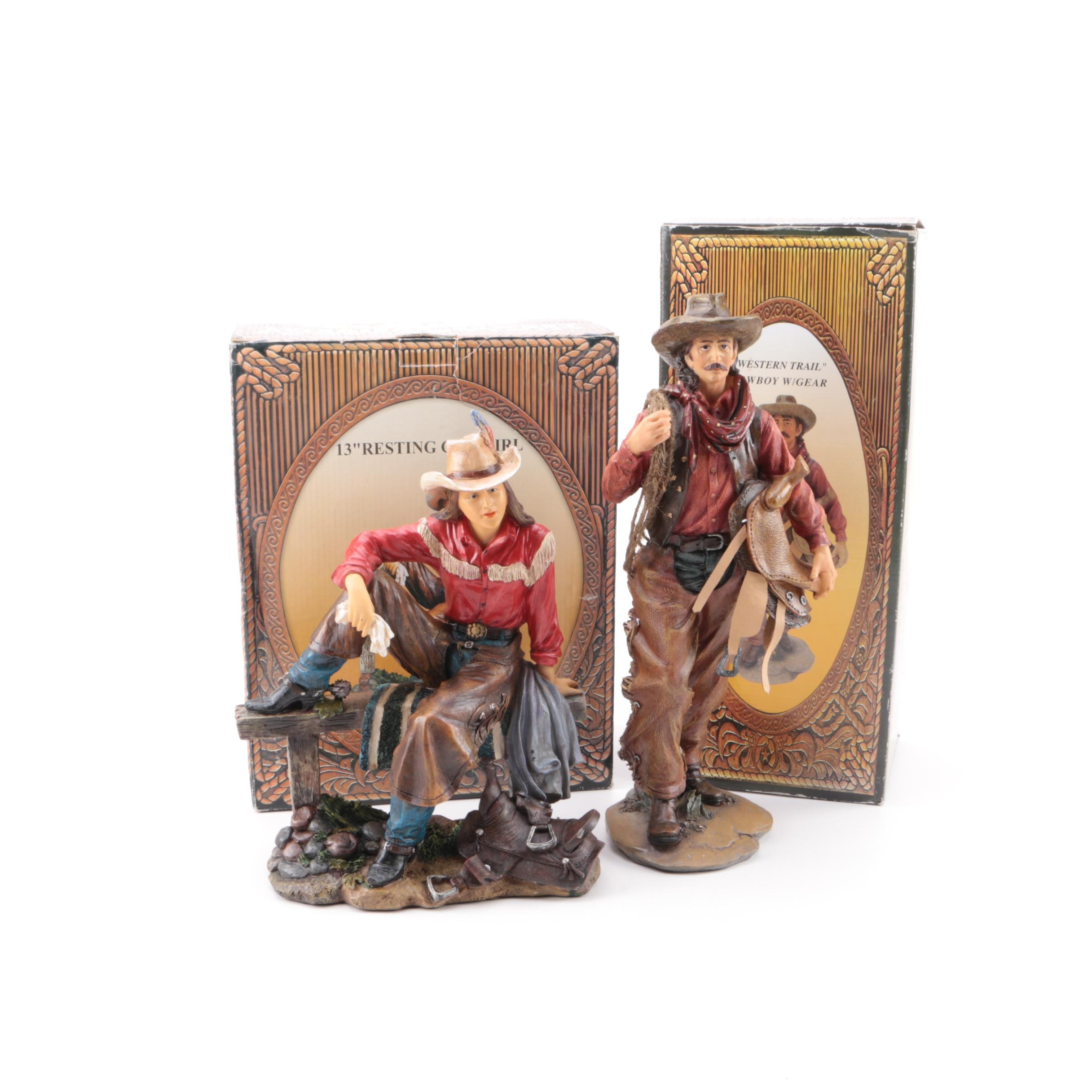 Resin Cowboy and Cowgirl Figurines