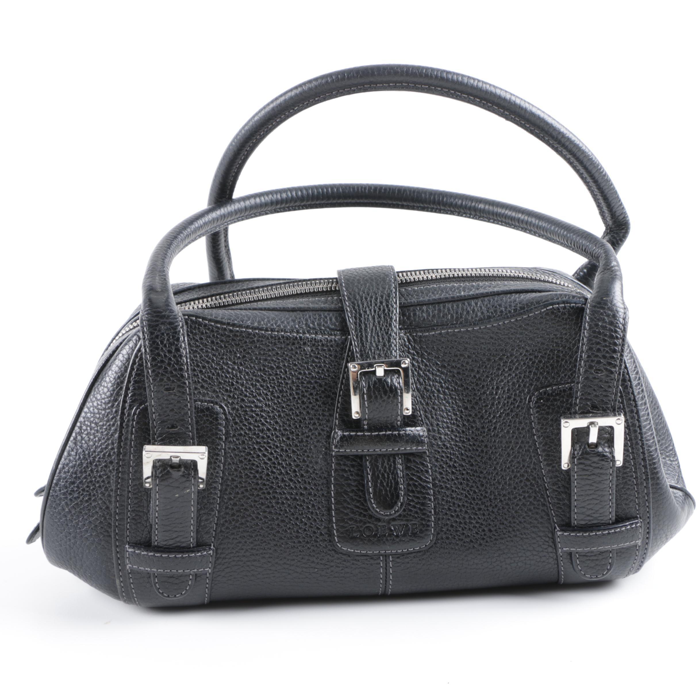 Loewe Black Pebbled Leather Baguette