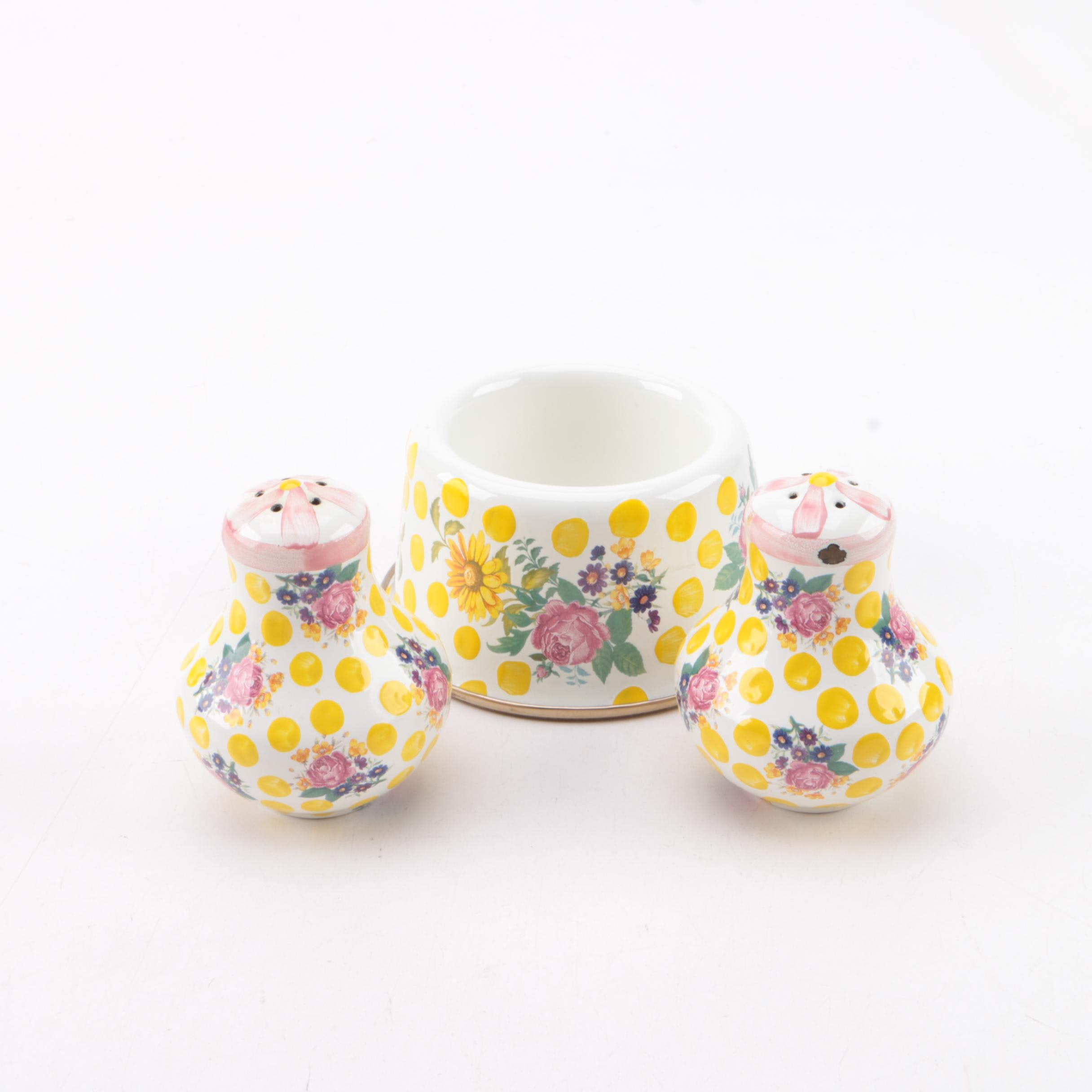 MacKenzie-Childs Salt and Pepper Shakers with Pet Dish