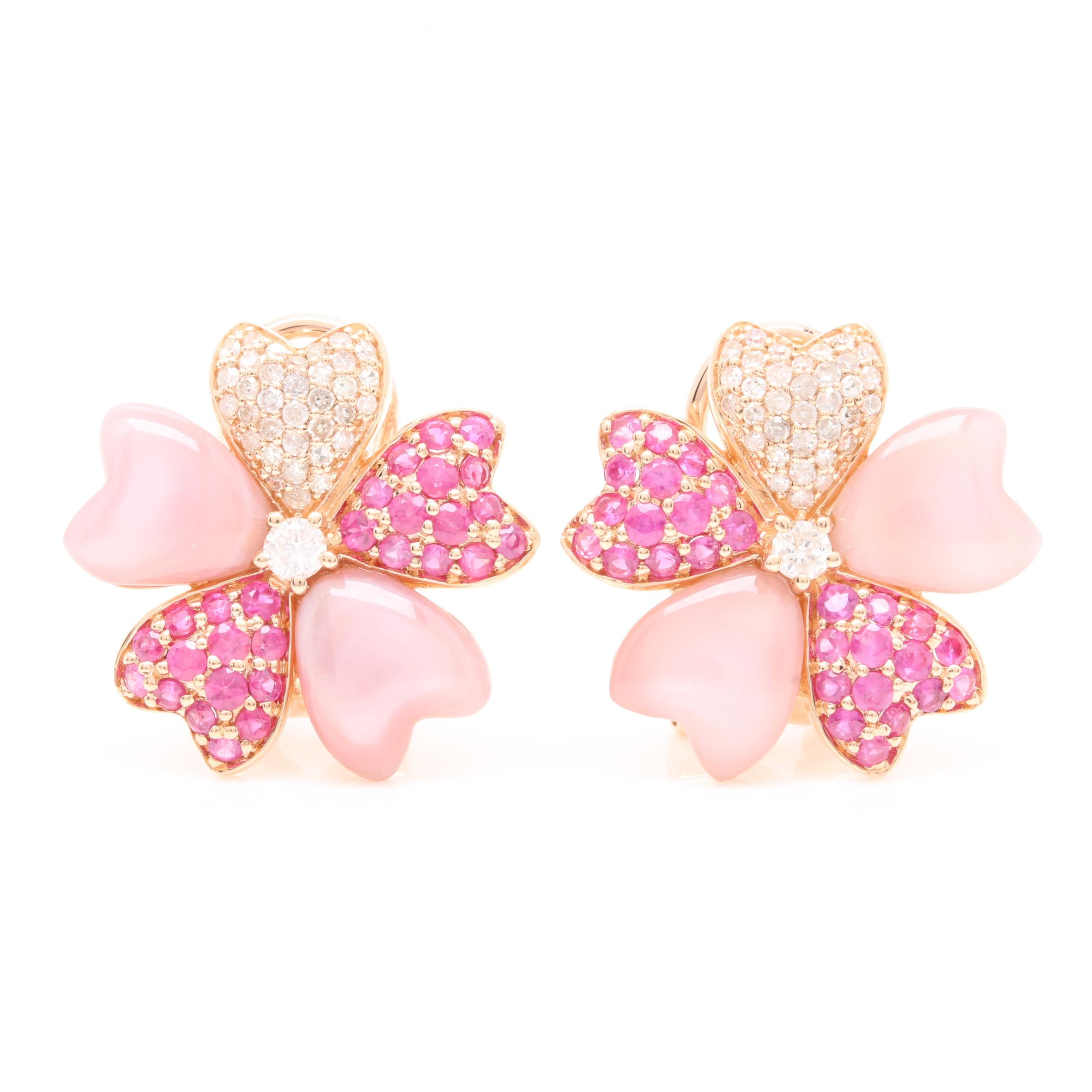 14K Rose Gold Diamond, Ruby, and Mother of Pearl Floral Earrings