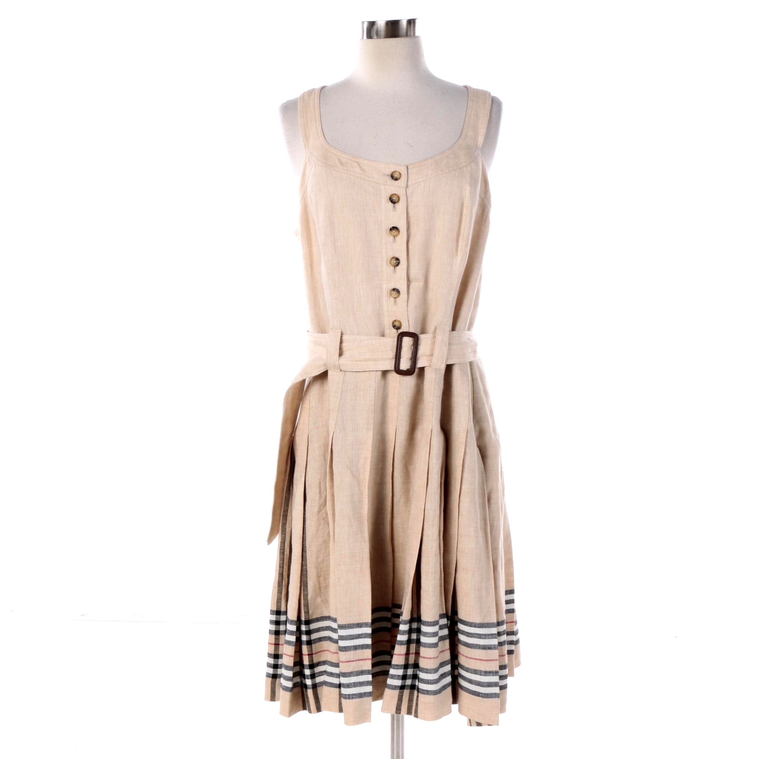 Women S Burberry London Beige Linen Sleeveless Dress Ebth