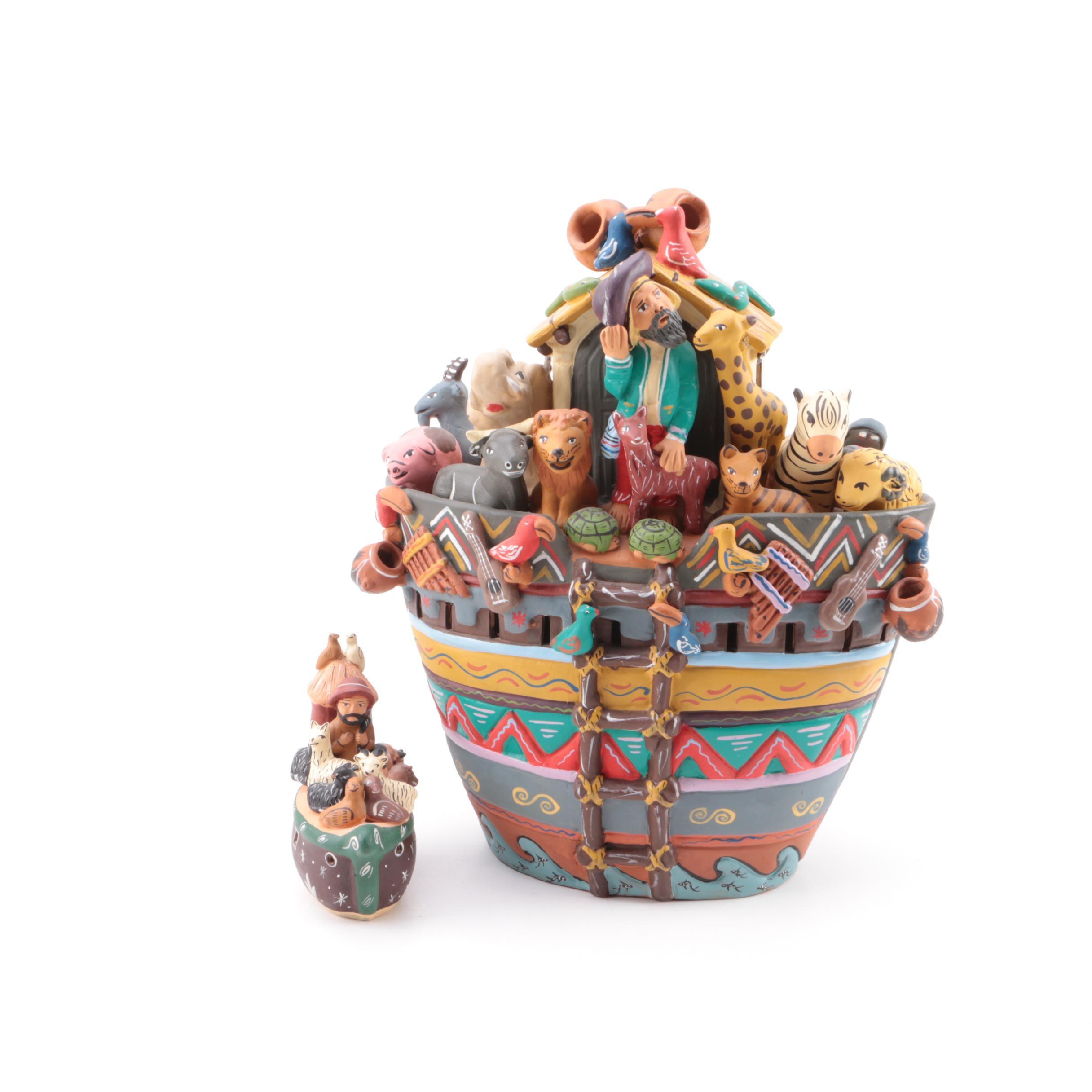 Handbuilt and Hand-Painted Earthenware Noah's Ark Sculpture