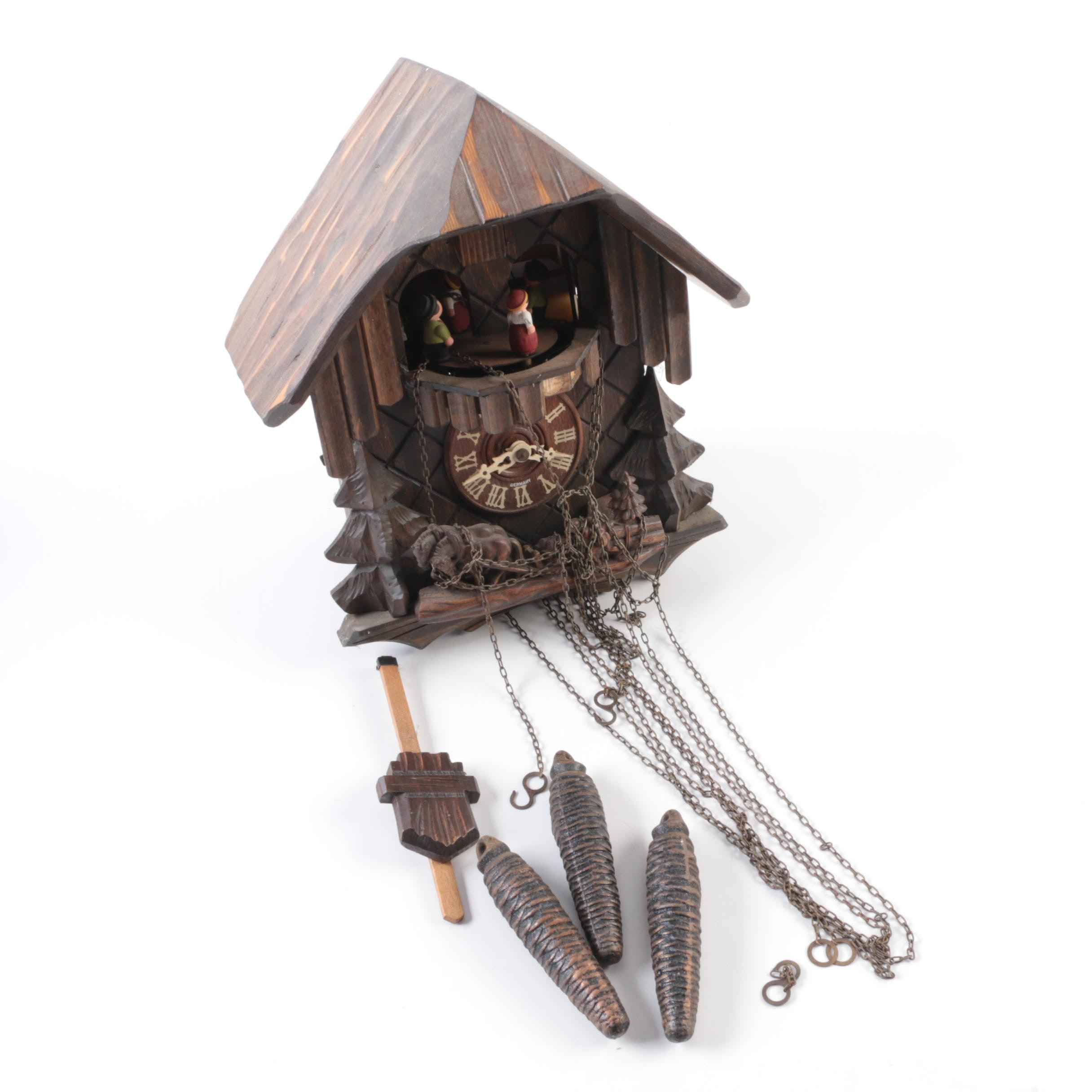 German Chalet Style Musical Cuckoo Clock