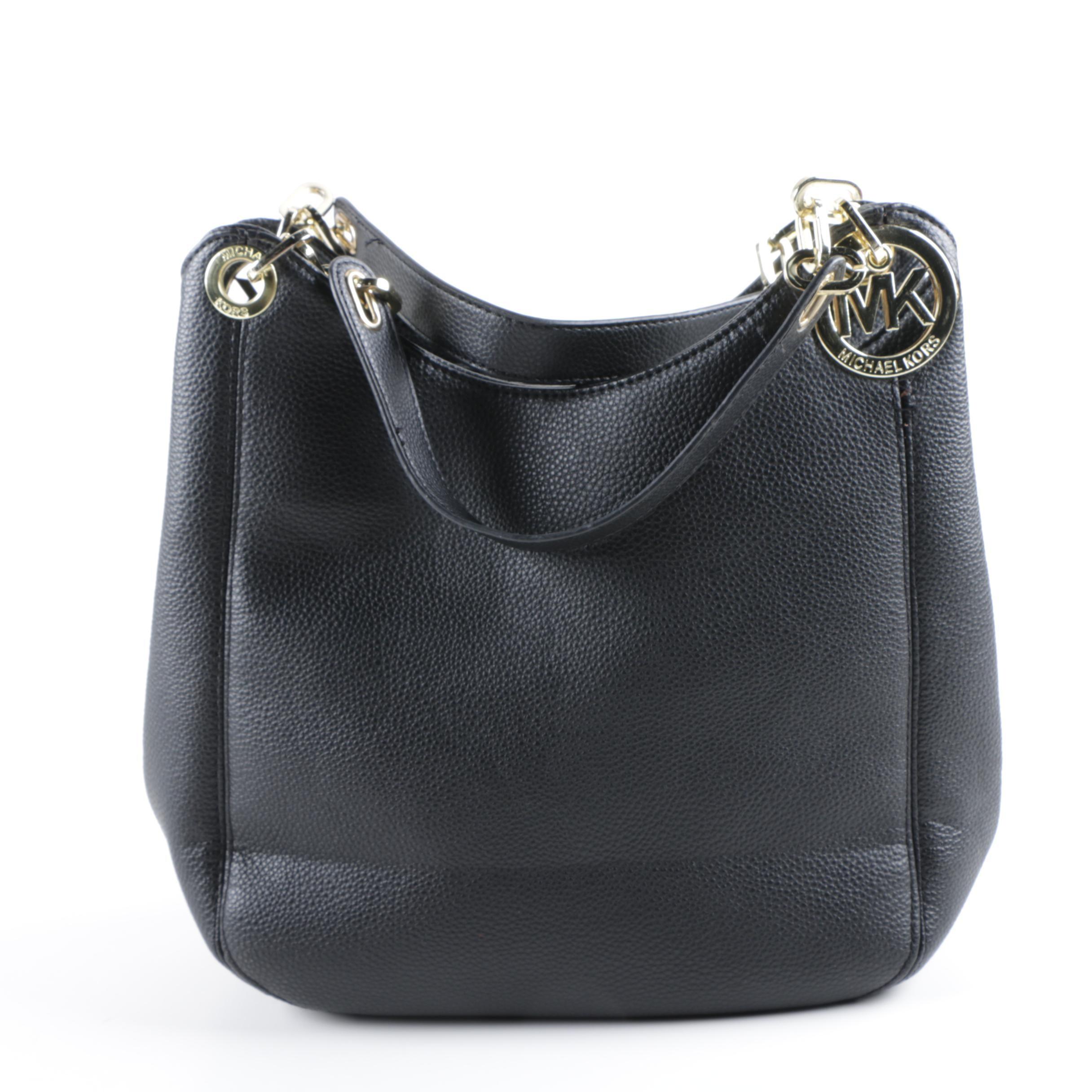 MICHAEL Michael Kors Black Pebbled Leather Shoulder Bag