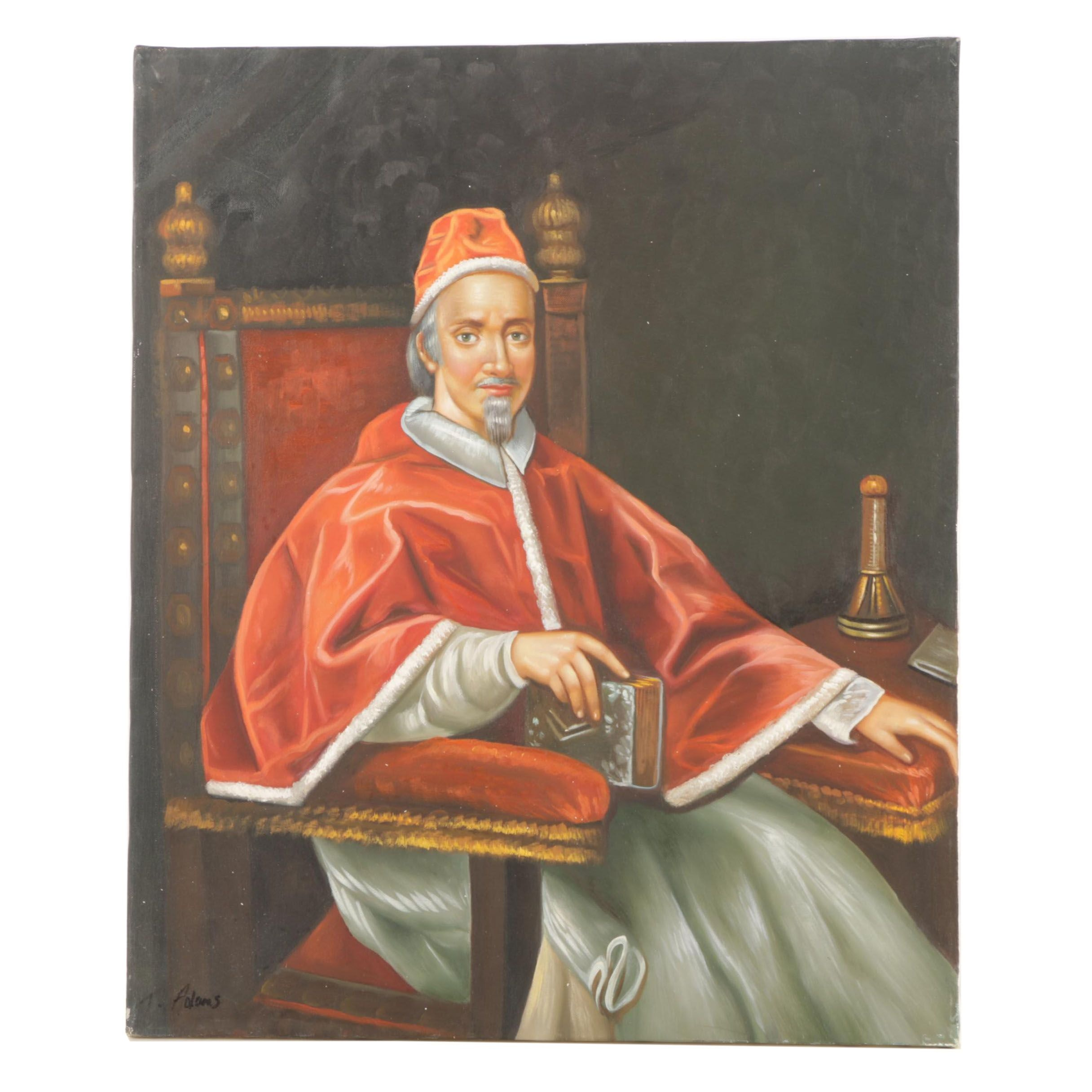 "T. Adams Copy Oil Painting After Carlo Maratta's ""Pope Clement IX"""