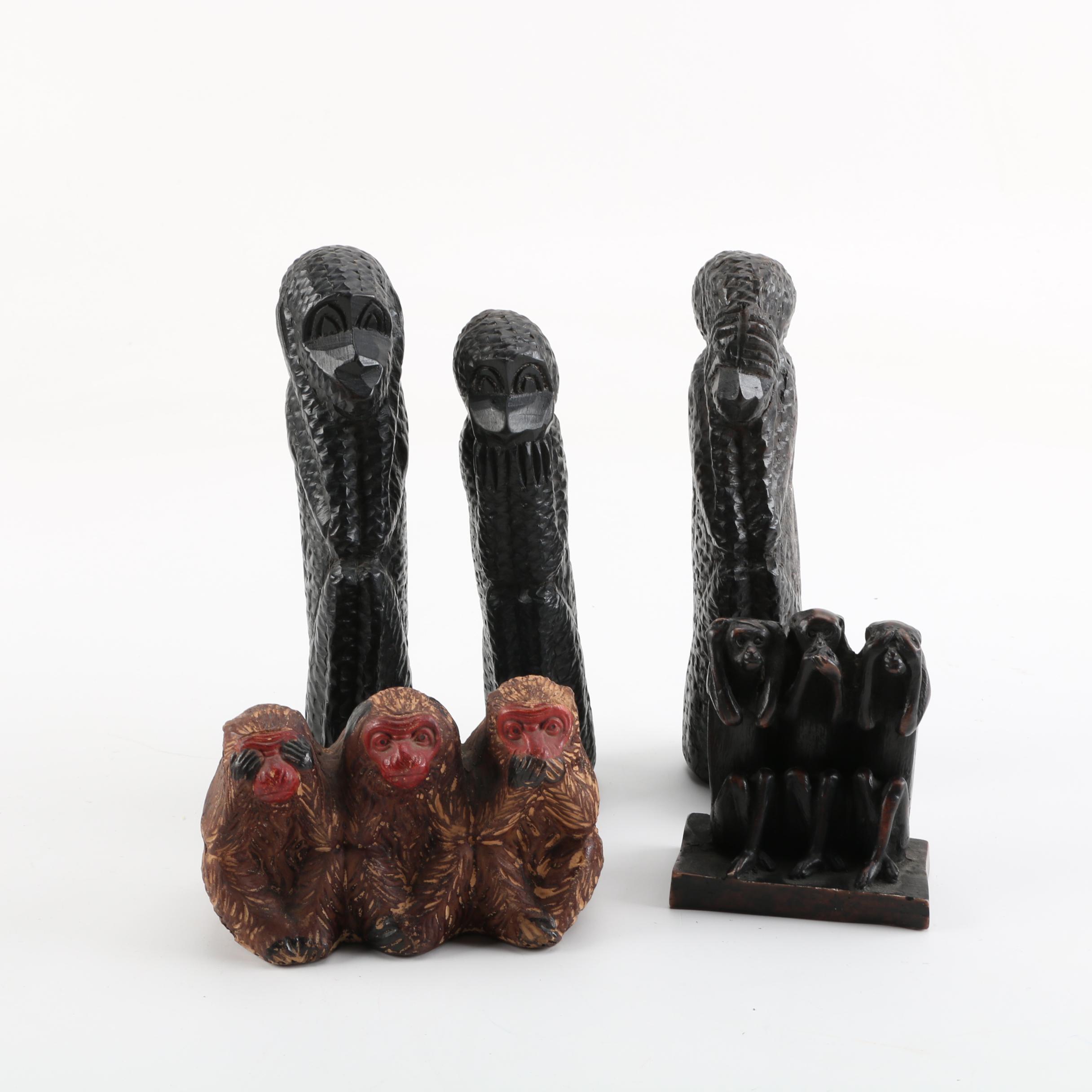 "Wood and Ceramic ""Three Wise Monkeys"" Figurines"
