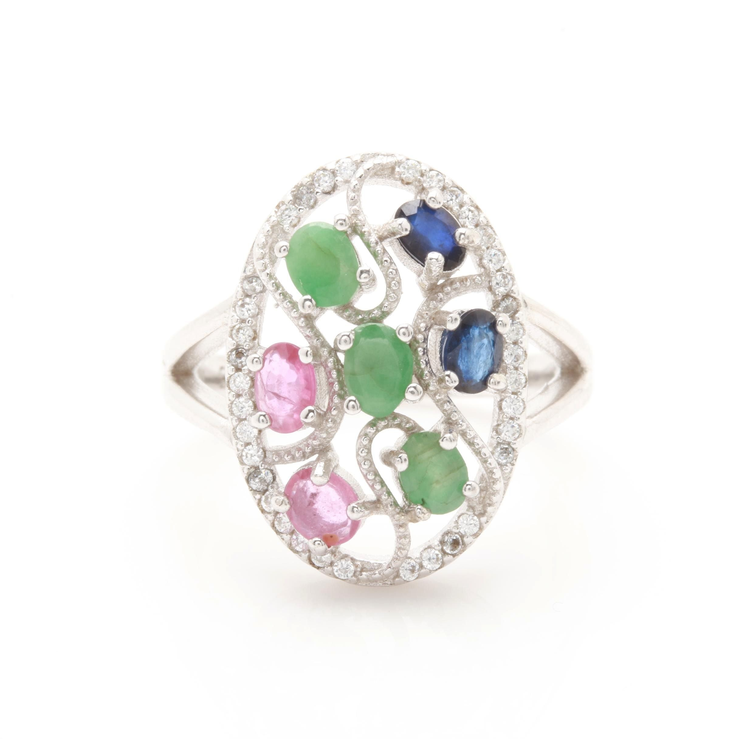 Sterling Silver Blue Sapphire, Emerald, Ruby and Cubic Zirconia Ring