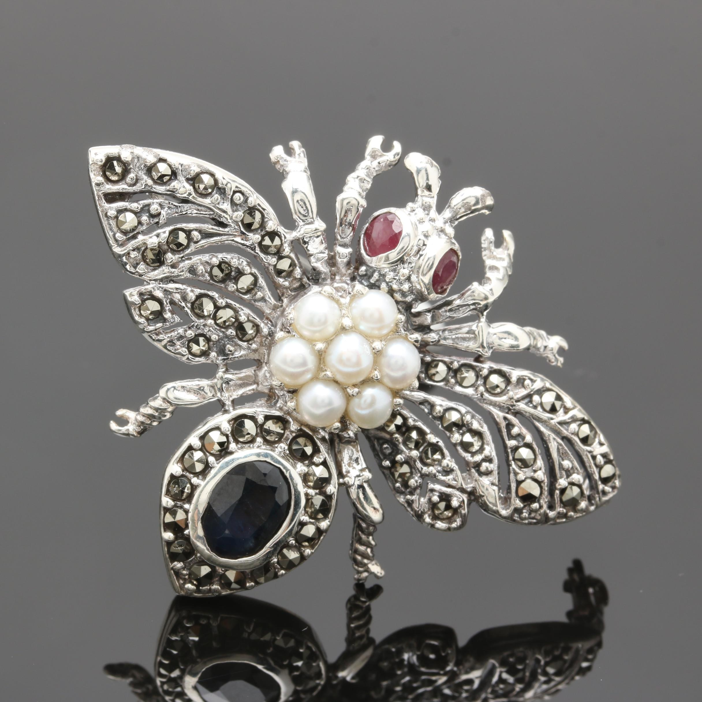 Sterling Silver Blue Sapphire, Ruby, Cultured Pearl and Marcasite Bee Brooch