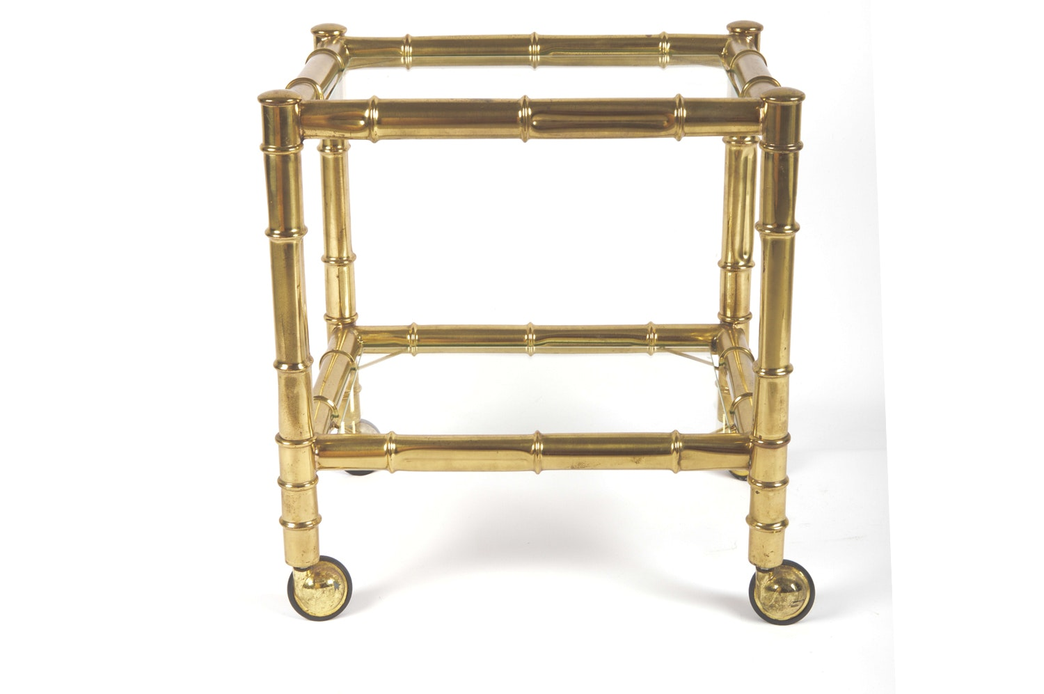 Hollywood Regency Style Faux Bamboo Brass Side Table