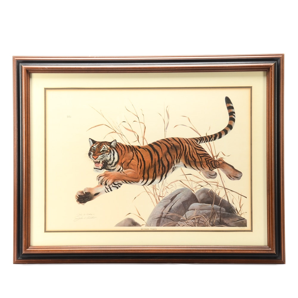 """John Ruthven Signed Limited Edition Offset Lithograph """"Bengal Tiger"""""""