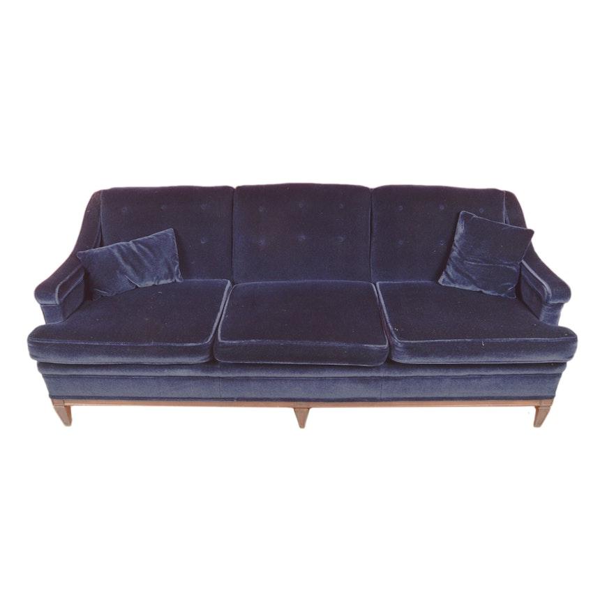 Vintage Dark Blue Velvet Sleeper Sofa   EBTH