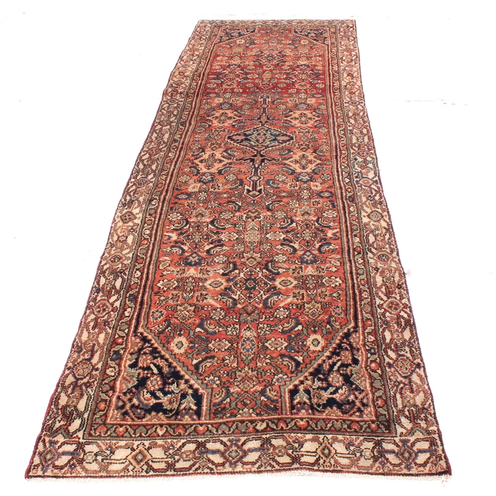 3' x 13' Vintage Hand-Knotted Persian Malayer Sarouk Runner