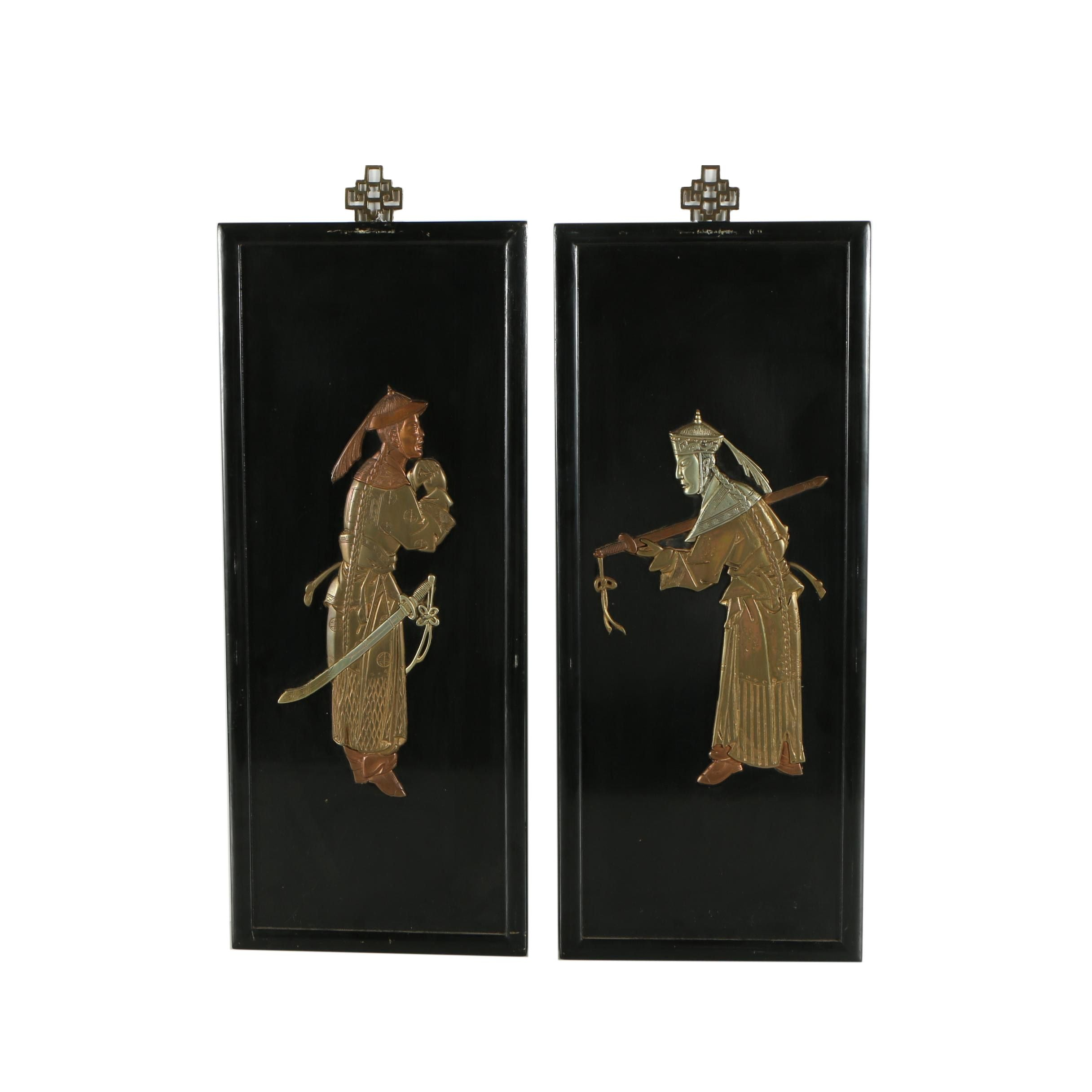 Chinese Decorative Wall Plaques With Brass Figures