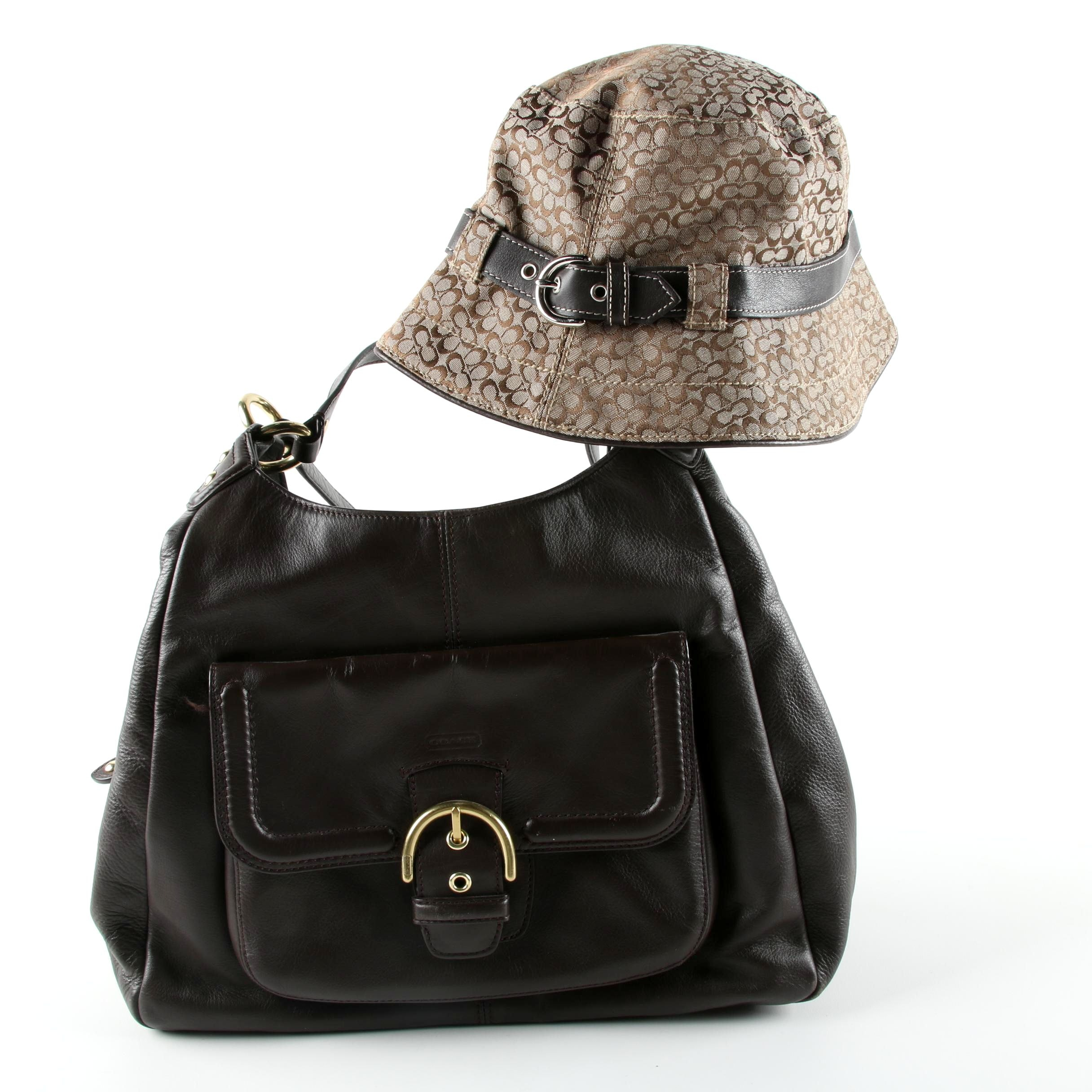 Coach Campbell Dark Brown Leather Hobo Bag and Canvas Bucket Hat
